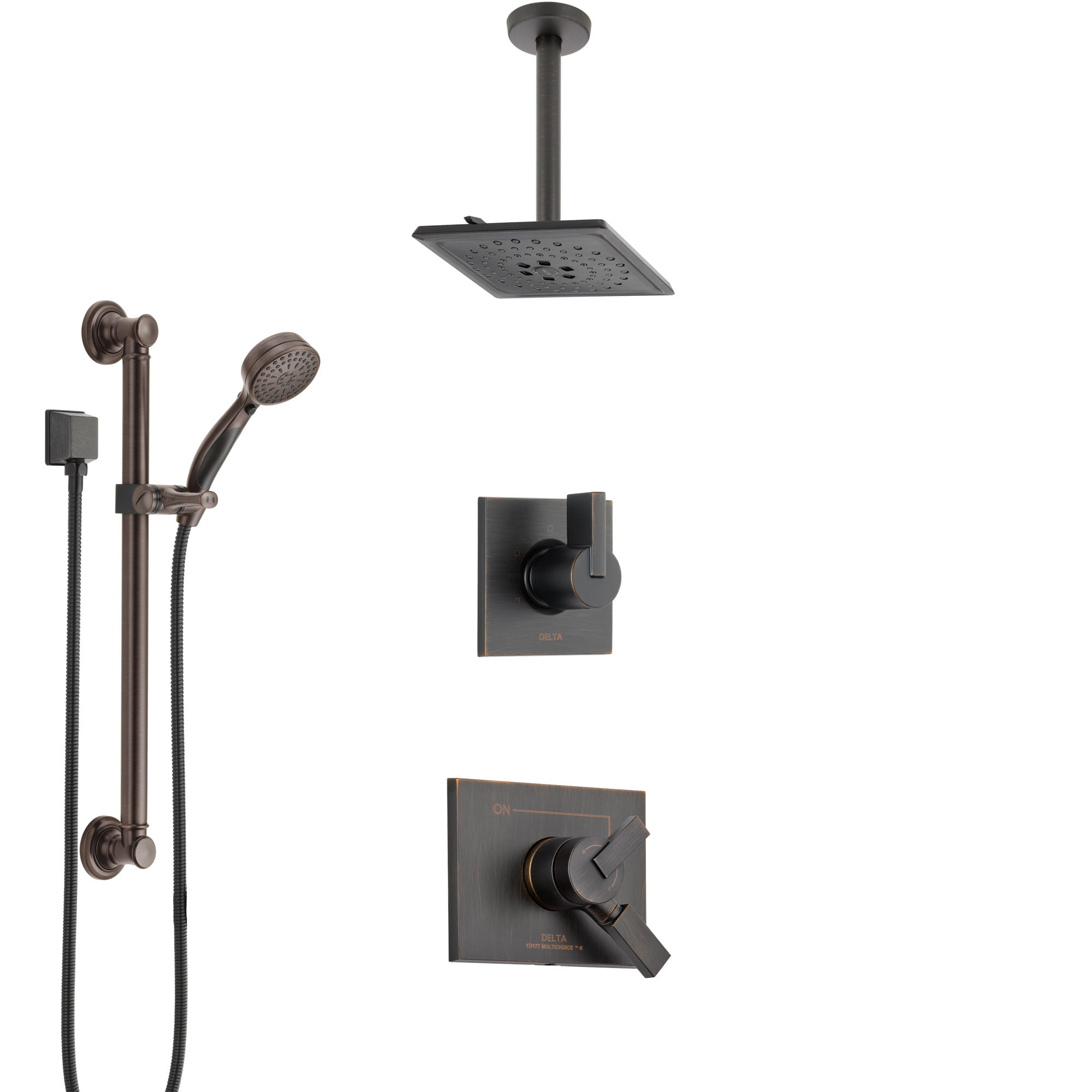 Delta Vero Venetian Bronze Shower System with Dual Control Handle, Diverter, Ceiling Mount Showerhead, and Hand Shower with Grab Bar SS1753RB2