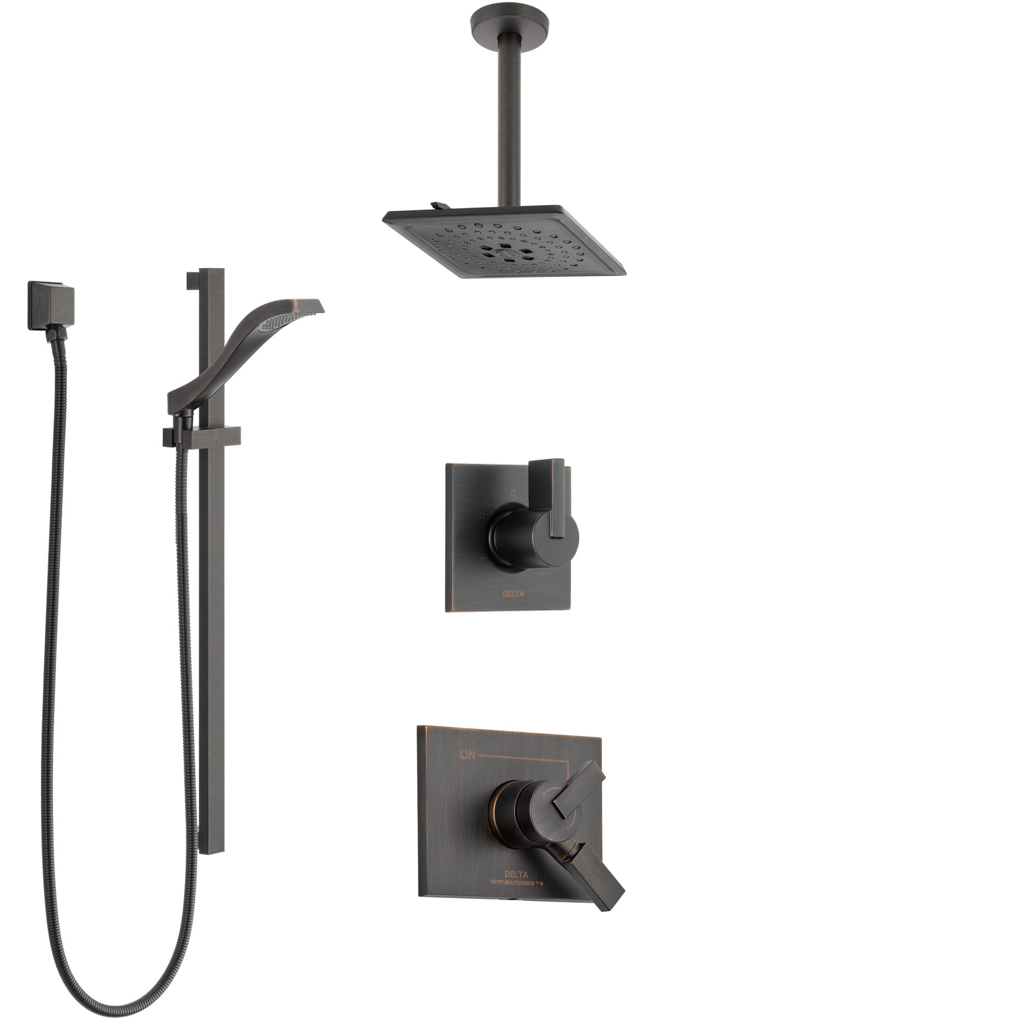 Delta Vero Venetian Bronze Shower System with Dual Control Handle, Diverter, Ceiling Mount Showerhead, and Hand Shower with Slidebar SS1753RB6