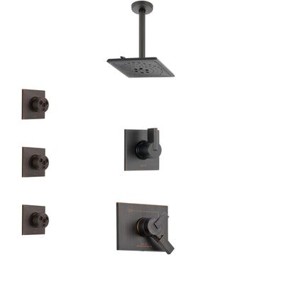Delta Vero Venetian Bronze Finish Shower System with Dual Control Handle, 3-Setting Diverter, Ceiling Mount Showerhead, and 3 Body Sprays SS1753RB7