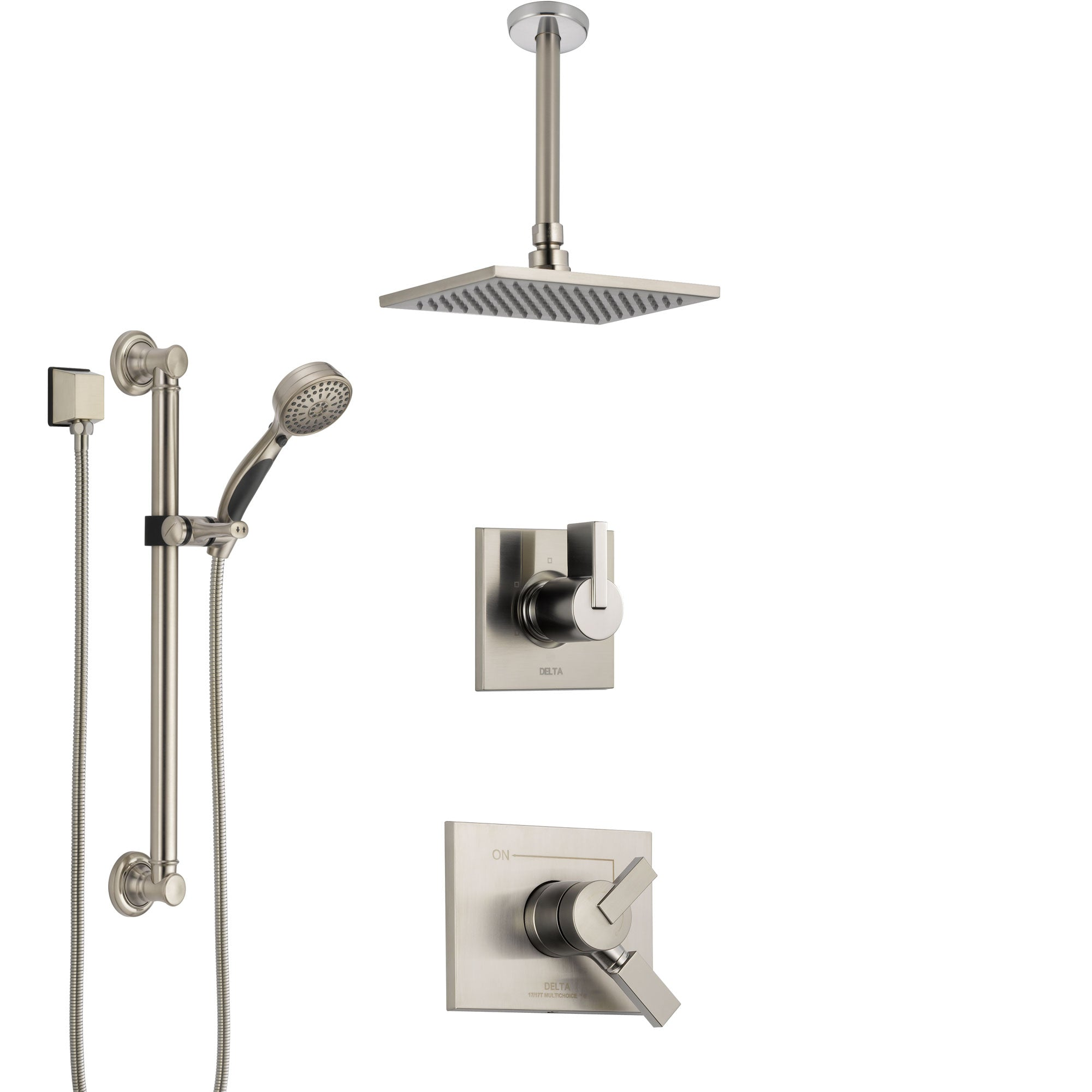 Delta Vero Stainless Steel Finish Shower System with Dual Control Handle, Diverter, Ceiling Mount Showerhead, and Hand Shower with Grab Bar SS1753SS1