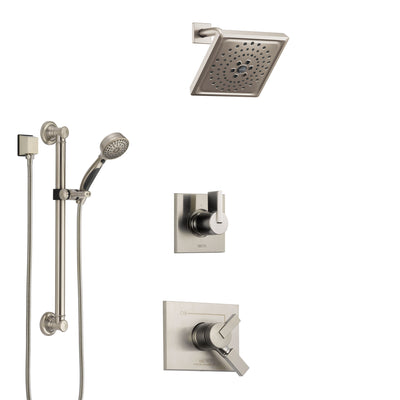 Delta Vero Stainless Steel Finish Shower System with Dual Control Handle, 3-Setting Diverter, Showerhead, and Hand Shower with Grab Bar SS1753SS2
