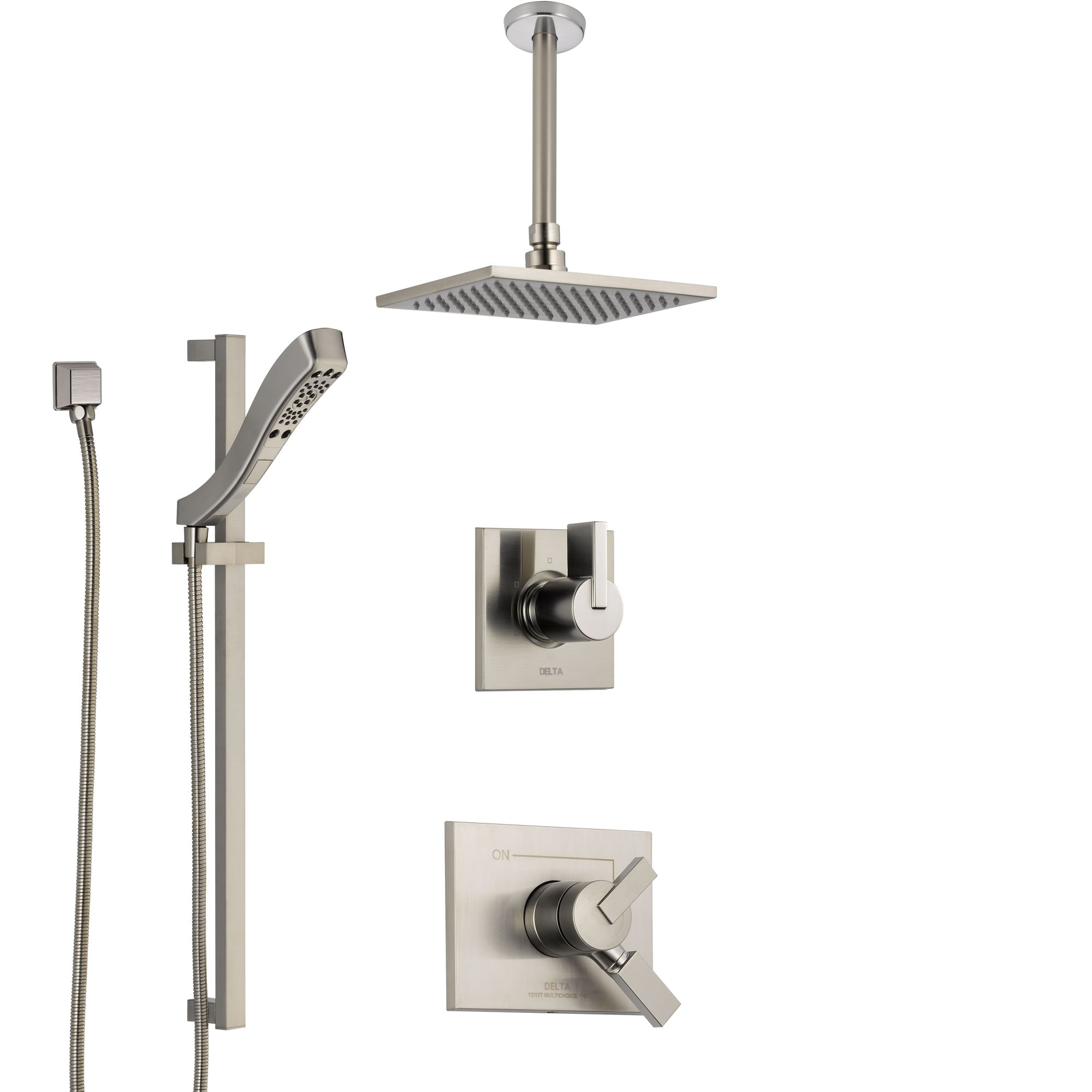 Delta Vero Stainless Steel Finish Shower System with Dual Control Handle, Diverter, Ceiling Mount Showerhead, and Hand Shower with Slidebar SS1753SS3