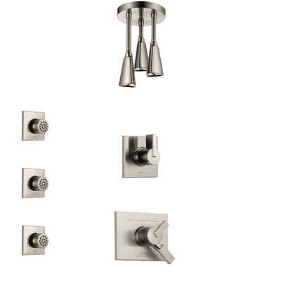 Delta Vero Stainless Steel Finish Shower System with Dual Control Handle, 3-Setting Diverter, Ceiling Mount Showerhead, and 3 Body Sprays SS1753SS6