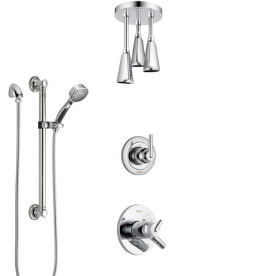 Delta Trinsic Chrome Finish Shower System with Dual Control Handle, Diverter, Ceiling Mount Showerhead, and Hand Shower with Grab Bar SS17593