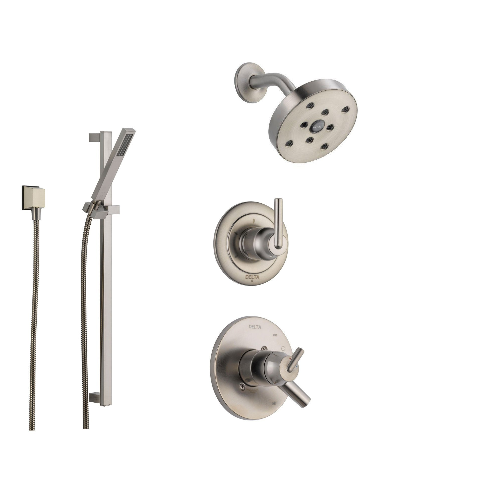 Delta Trinsic Stainless Steel Shower System with Dual Control Shower Handle, 3-setting Diverter, Modern Round Showerhead, and Handheld Shower Spray SS175981SS
