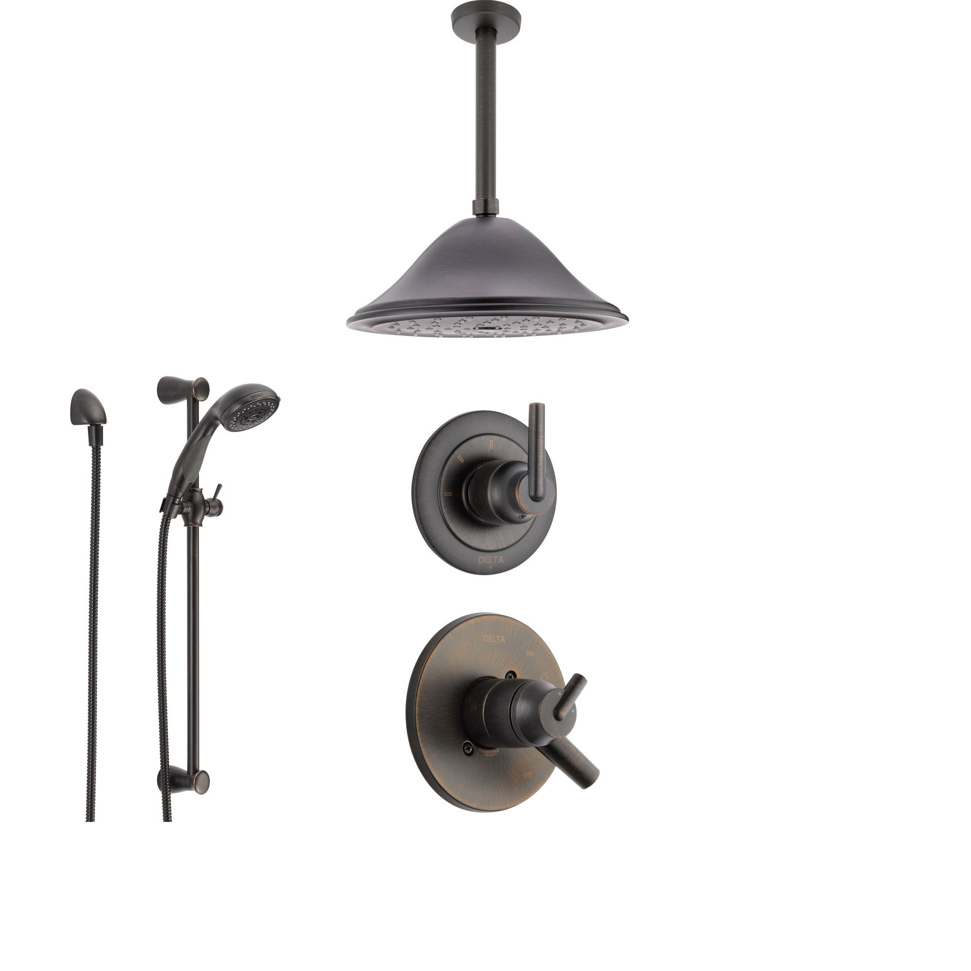 Delta Trinsic Venetian Bronze Shower System with Dual Control Shower Handle, 3-setting Diverter, Large Ceiling Mount Rain Showerhead, and Handheld Shower SS175982RB