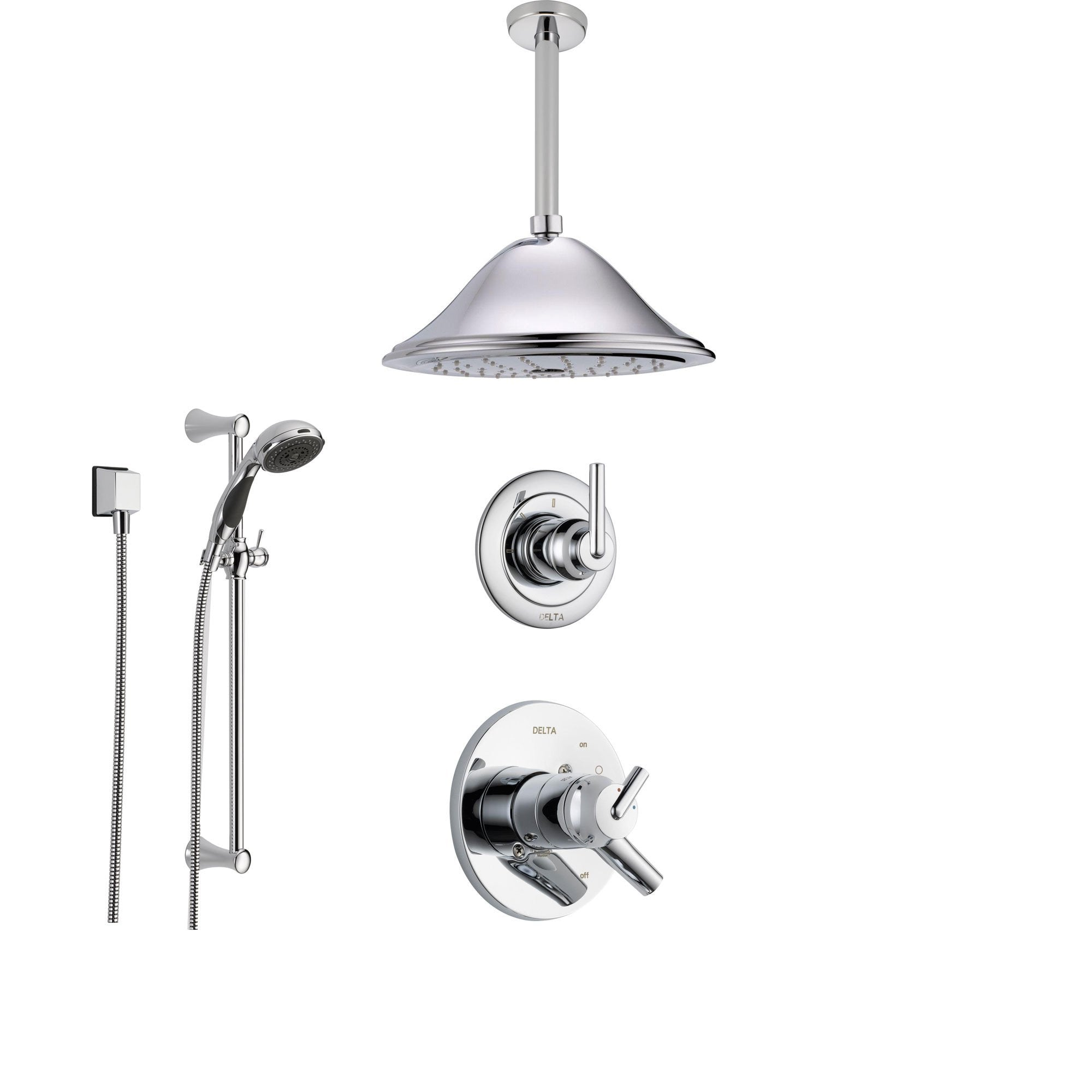 Delta Trinsic Chrome Shower System with Dual Control Shower Handle, 3-setting Diverter, Large Rain Showerhead, and Handheld Shower SS175982