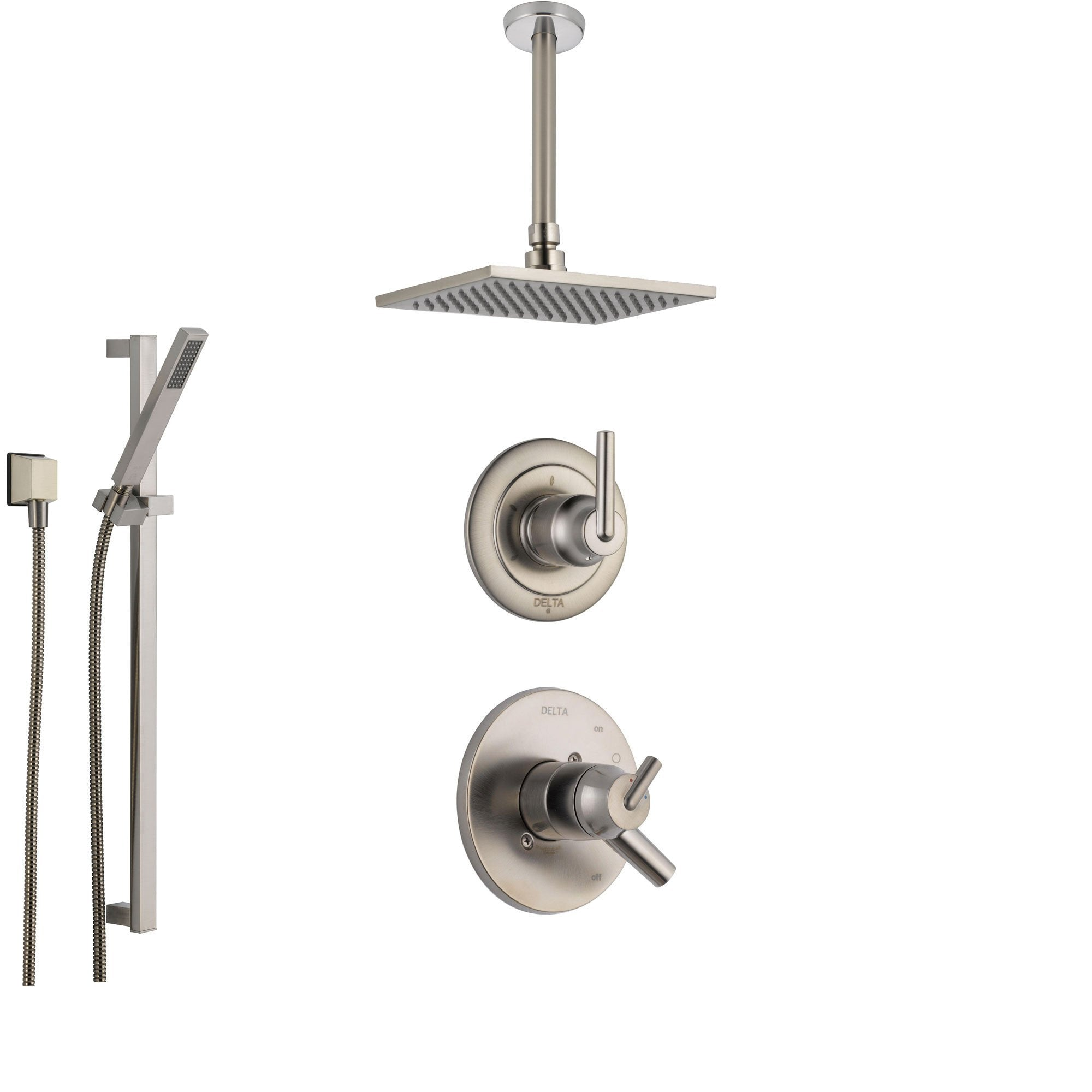 Delta Trinsic Stainless Steel Shower System with Dual Control Shower Handle, 3-setting Diverter, Large Square Ceiling Mount Showerhead, and Handheld Shower SS175985SS