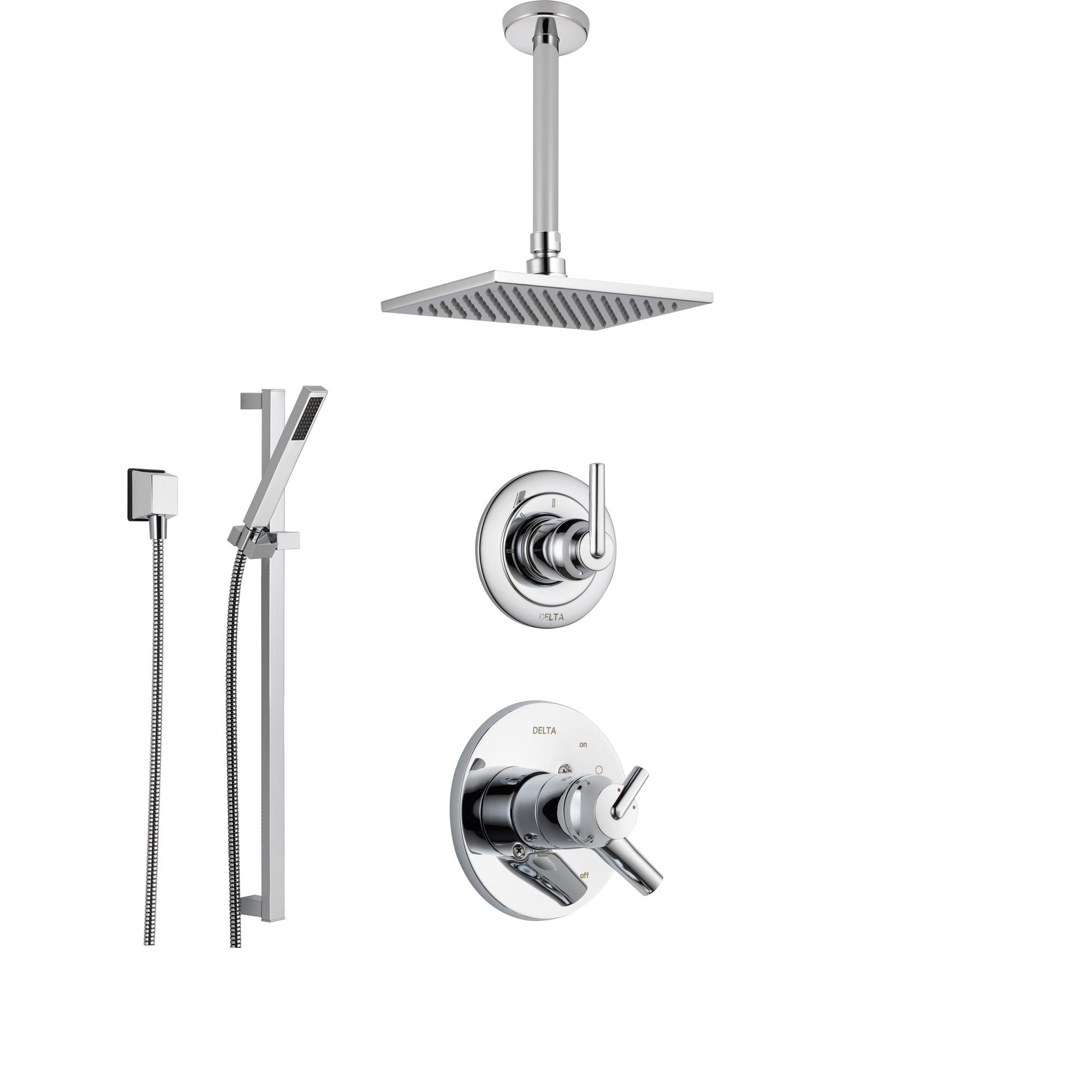 Delta Trinsic Chrome Shower System with Dual Control Shower Handle, 3-setting Diverter, Large Square Ceiling Mount Showerhead, and Modern Handheld Shower SS175985