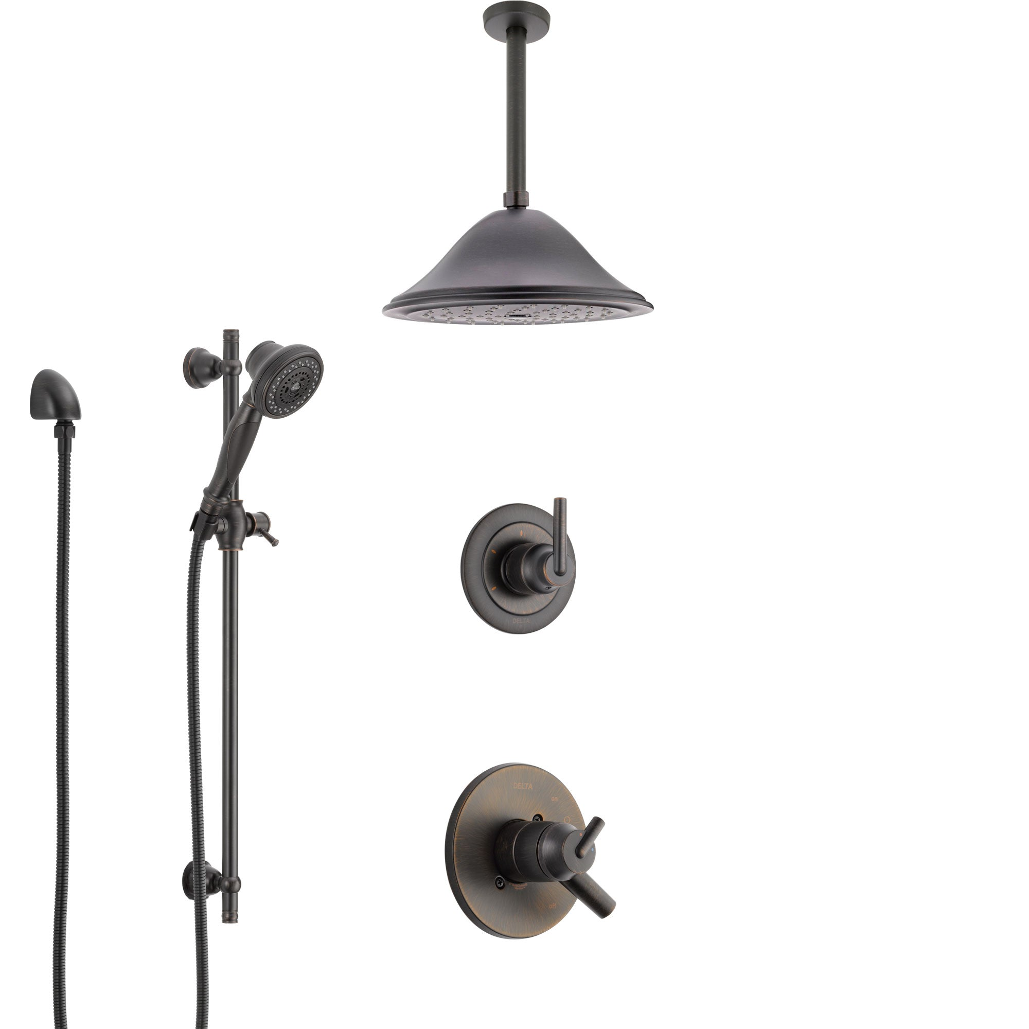 Delta Trinsic Venetian Bronze Shower System with Dual Control Handle, Diverter, Ceiling Mount Showerhead, and Hand Shower with Slidebar SS1759RB7