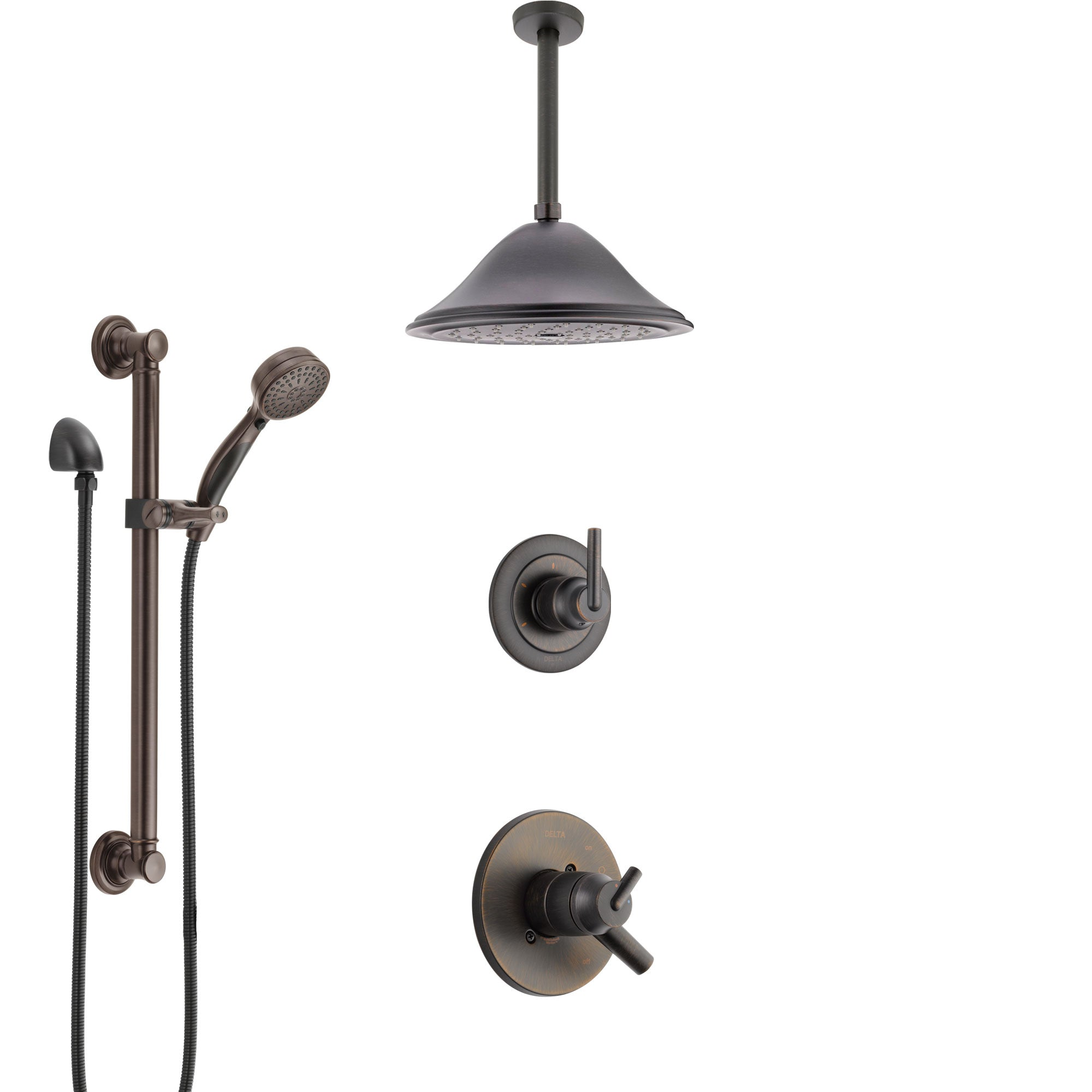 Delta Trinsic Venetian Bronze Shower System with Dual Control Handle, Diverter, Ceiling Mount Showerhead, and Hand Shower with Grab Bar SS1759RB8