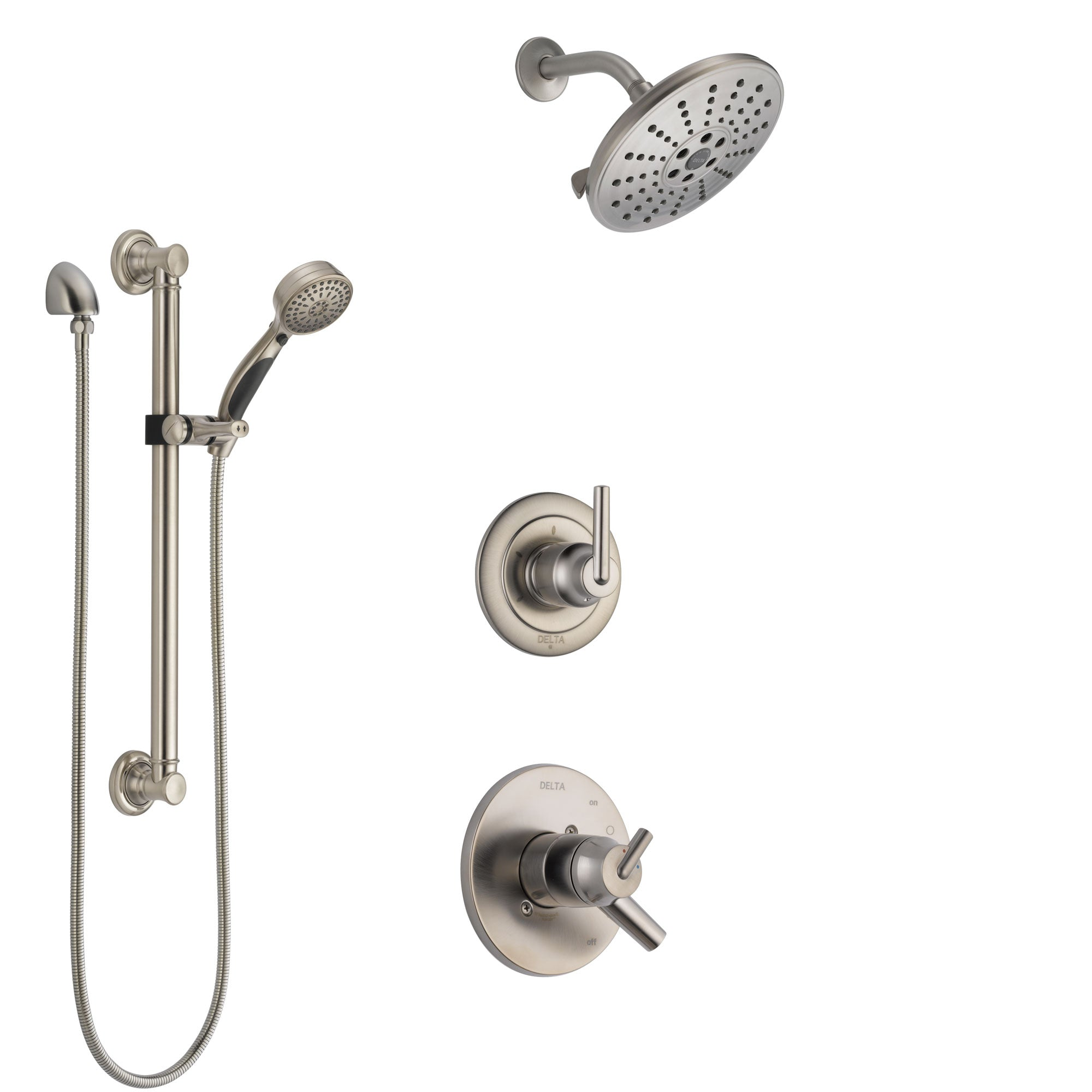 Delta Trinsic Stainless Steel Finish Shower System with Dual Control Handle, 3-Setting Diverter, Showerhead, and Hand Shower with Grab Bar SS1759SS4