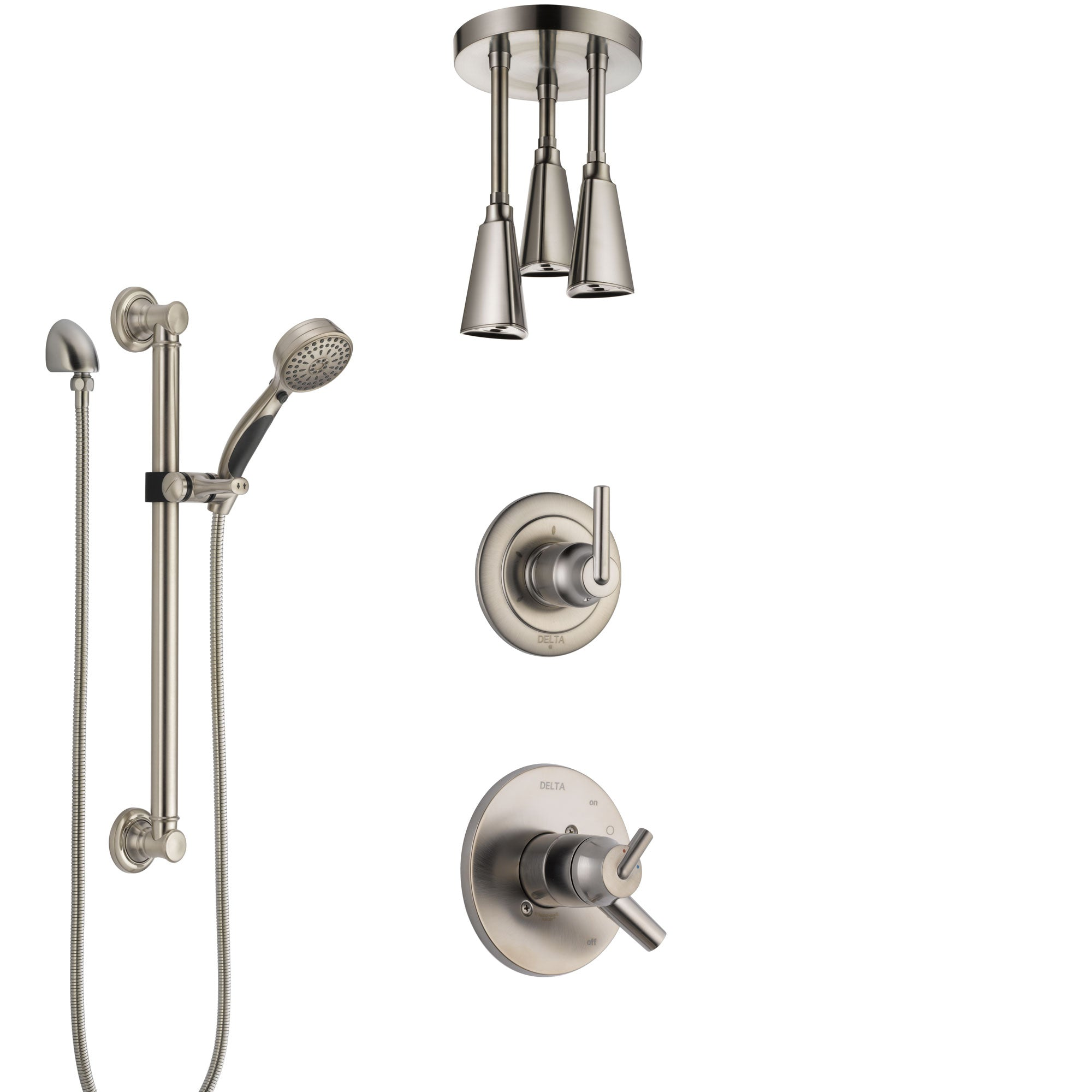 Delta Trinsic Dual Control Handle Stainless Steel Finish Shower System, Diverter, Ceiling Mount Showerhead, and Hand Shower with Grab Bar SS1759SS6