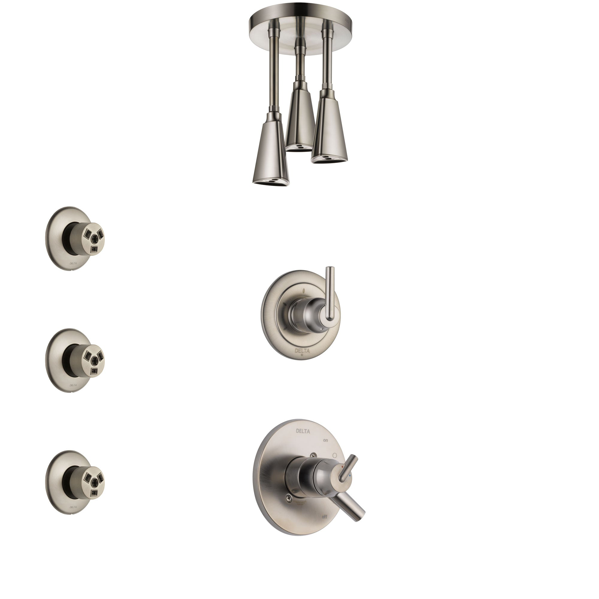 Delta Trinsic Stainless Steel Finish Shower System with Dual Control Handle, 3-Setting Diverter, Ceiling Mount Showerhead, and 3 Body Sprays SS1759SS7