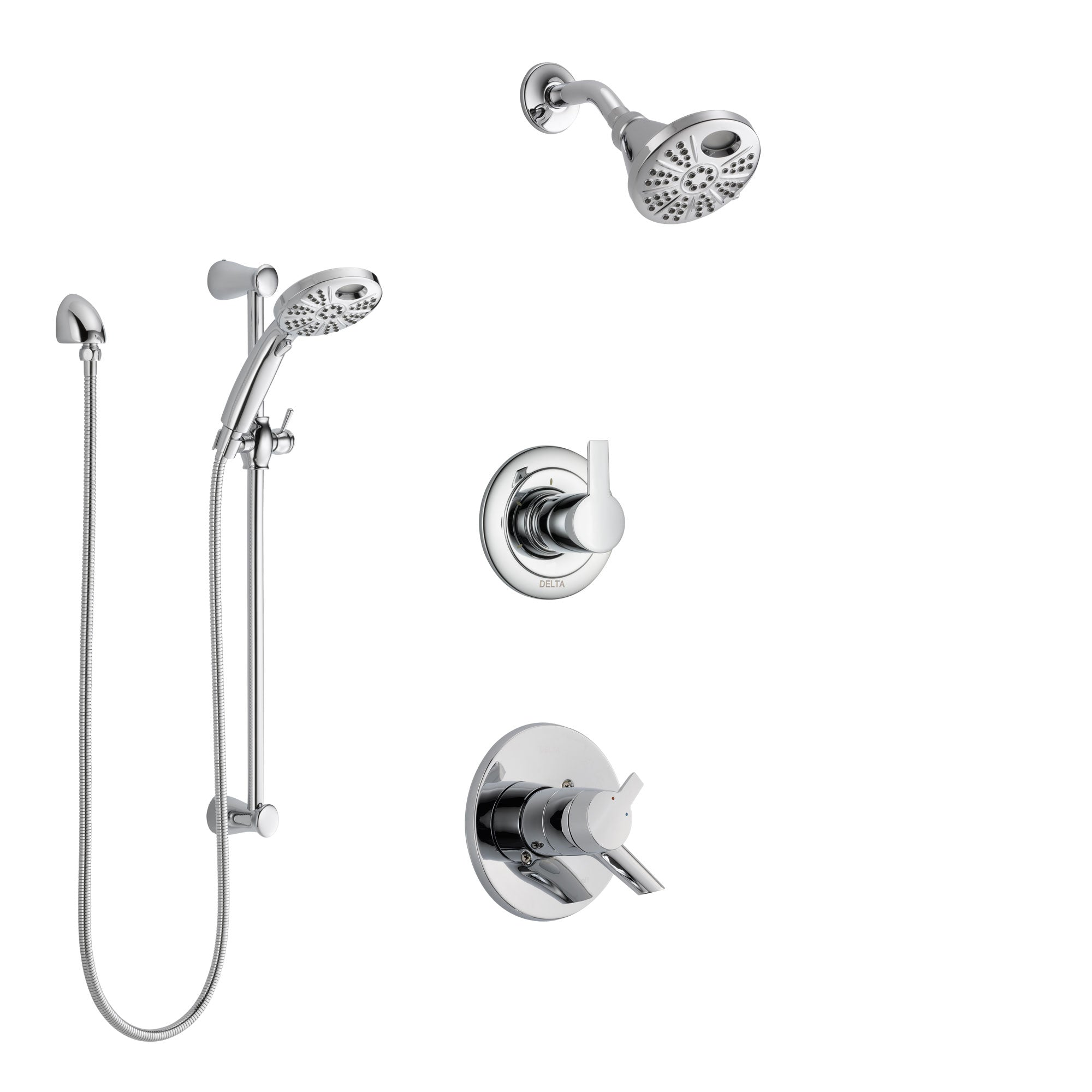 Delta Compel Chrome Finish Shower System with Dual Control Handle, 3-Setting Diverter, Temp2O Showerhead, and Hand Shower with Slidebar SS17611