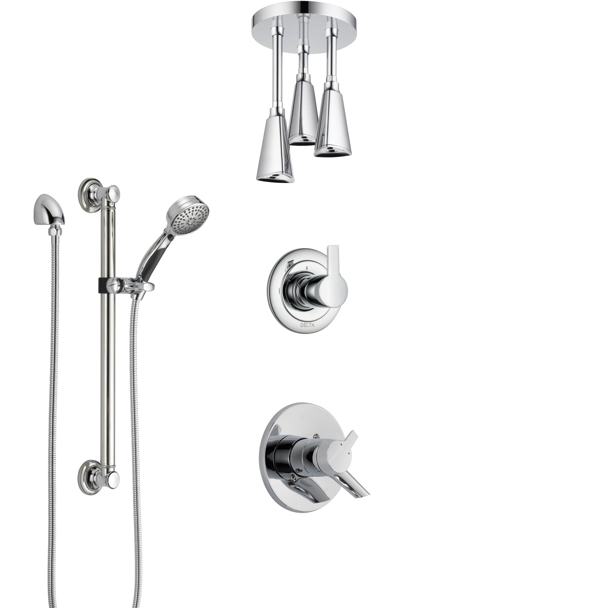 Delta Compel Chrome Finish Shower System with Dual Control Handle, 3-Setting Diverter, Ceiling Mount Showerhead, and Hand Shower with Grab Bar SS17616