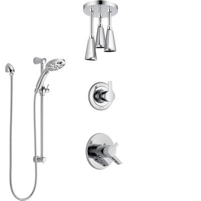 Delta Compel Chrome Finish Shower System with Dual Control, 3-Setting Diverter, Ceiling Mount Showerhead, and Temp2O Hand Shower with Slidebar SS17617