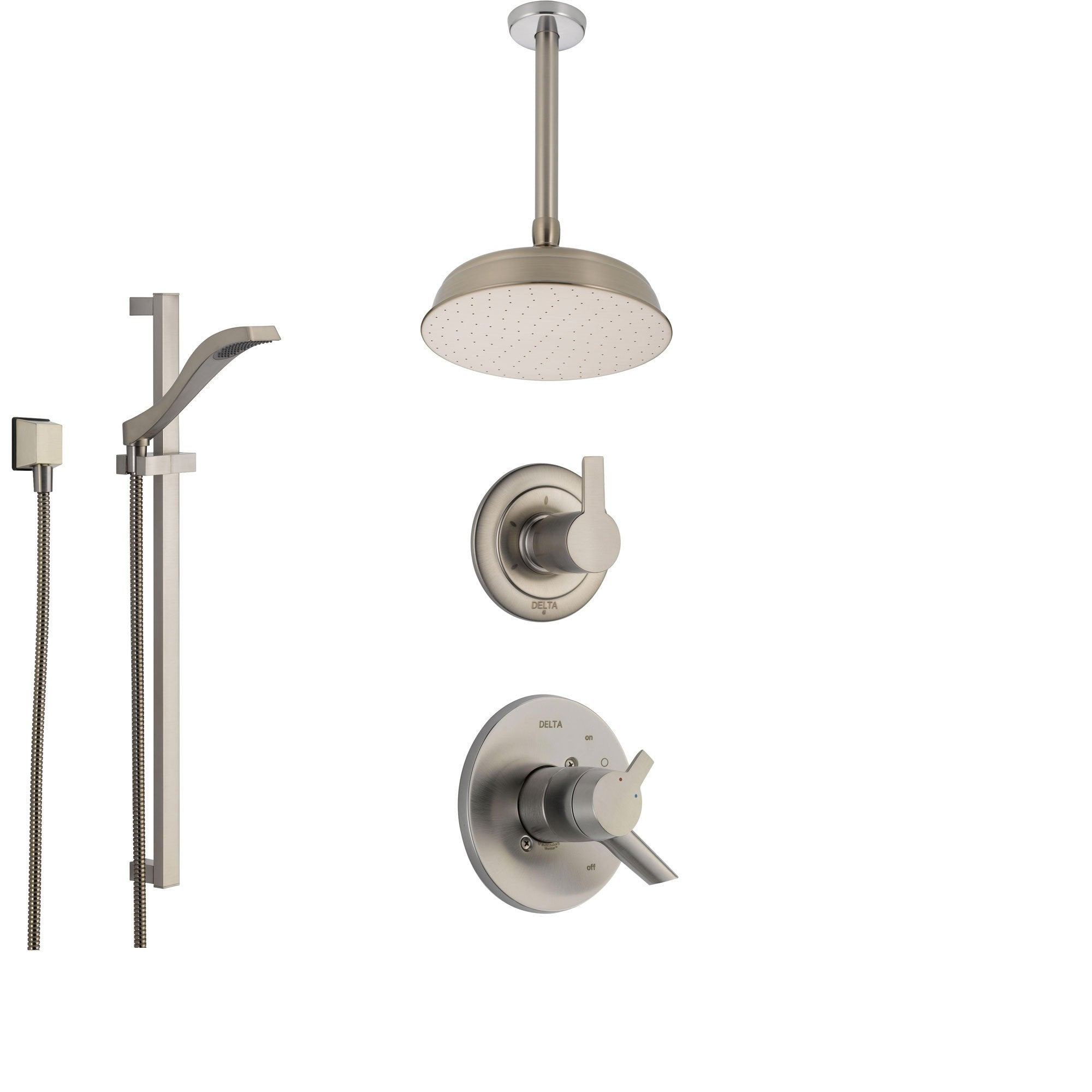 Delta Compel Stainless Steel Shower System with Dual Control Shower Handle, 3-setting Diverter, Large Round Ceiling Mount Showerhead, and Handheld Shower Spray SS176181SS