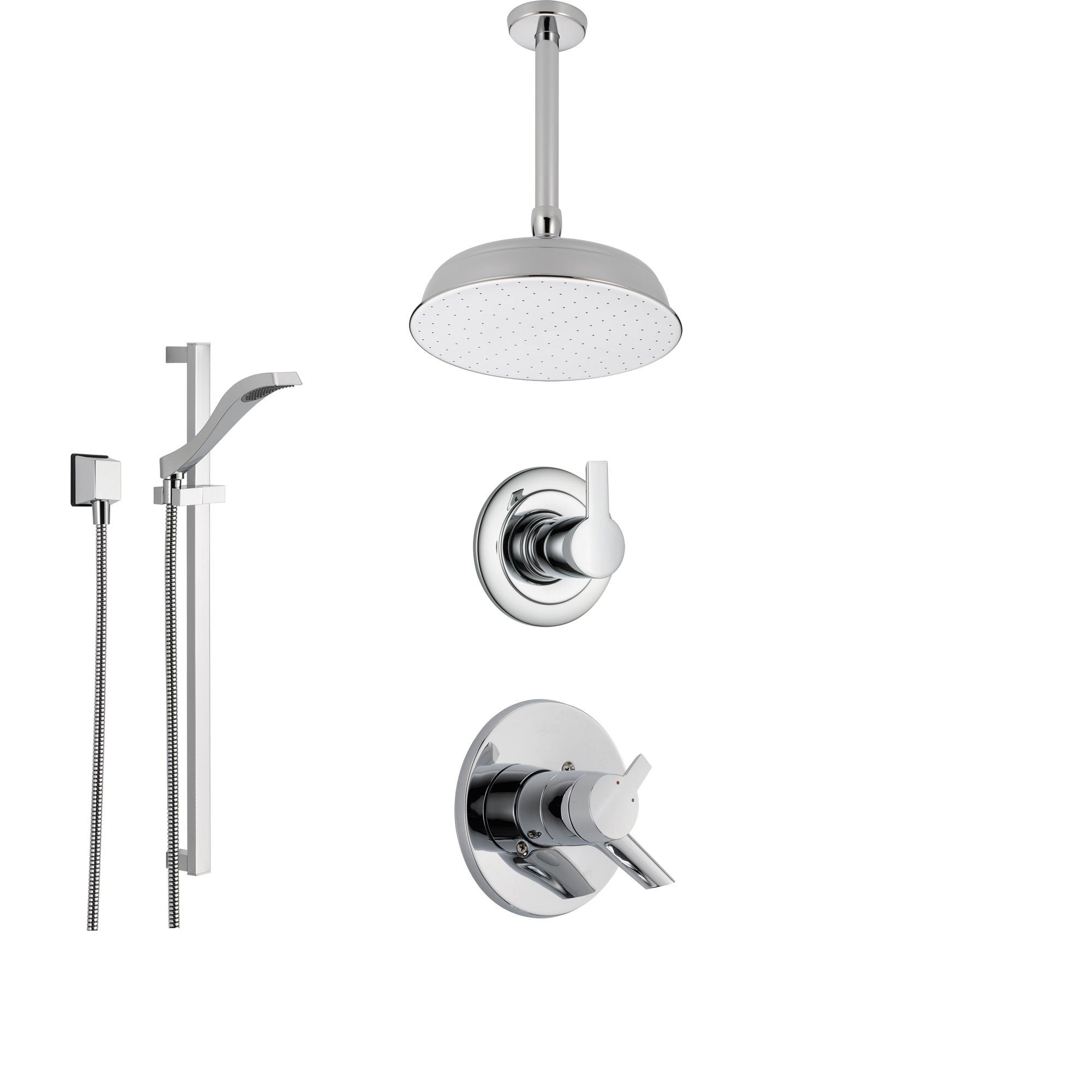 Delta Compel Chrome Shower System with Dual Control Shower Handle, 3-setting Diverter, Large Round Ceiling Mount Showerhead, and Handheld Shower Spray SS176181