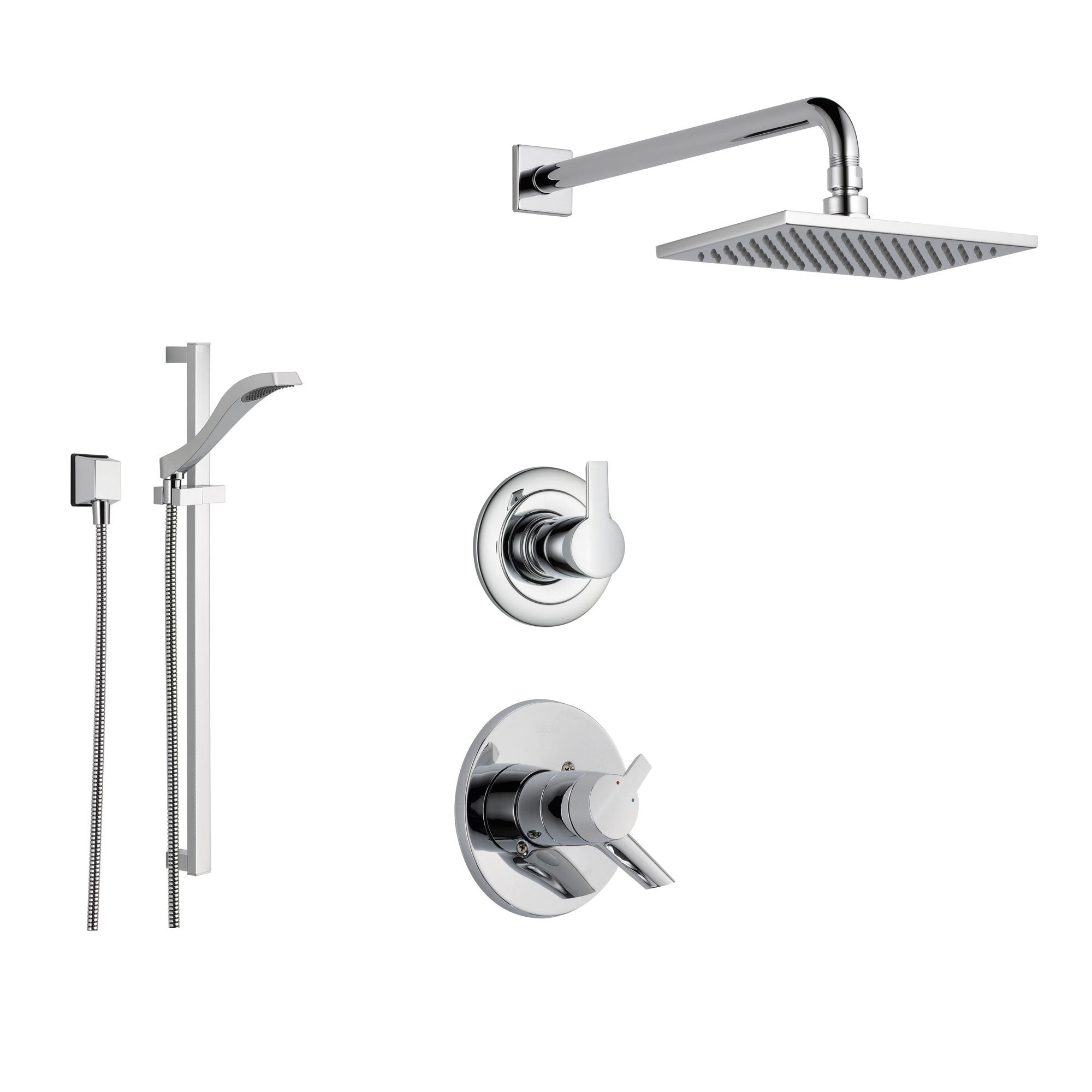 Delta Compel Chrome Shower System With Dual Control Shower Handle 3 Setting Diverter Large Square Rain Shower Head And Hand Held Shower Ss176182