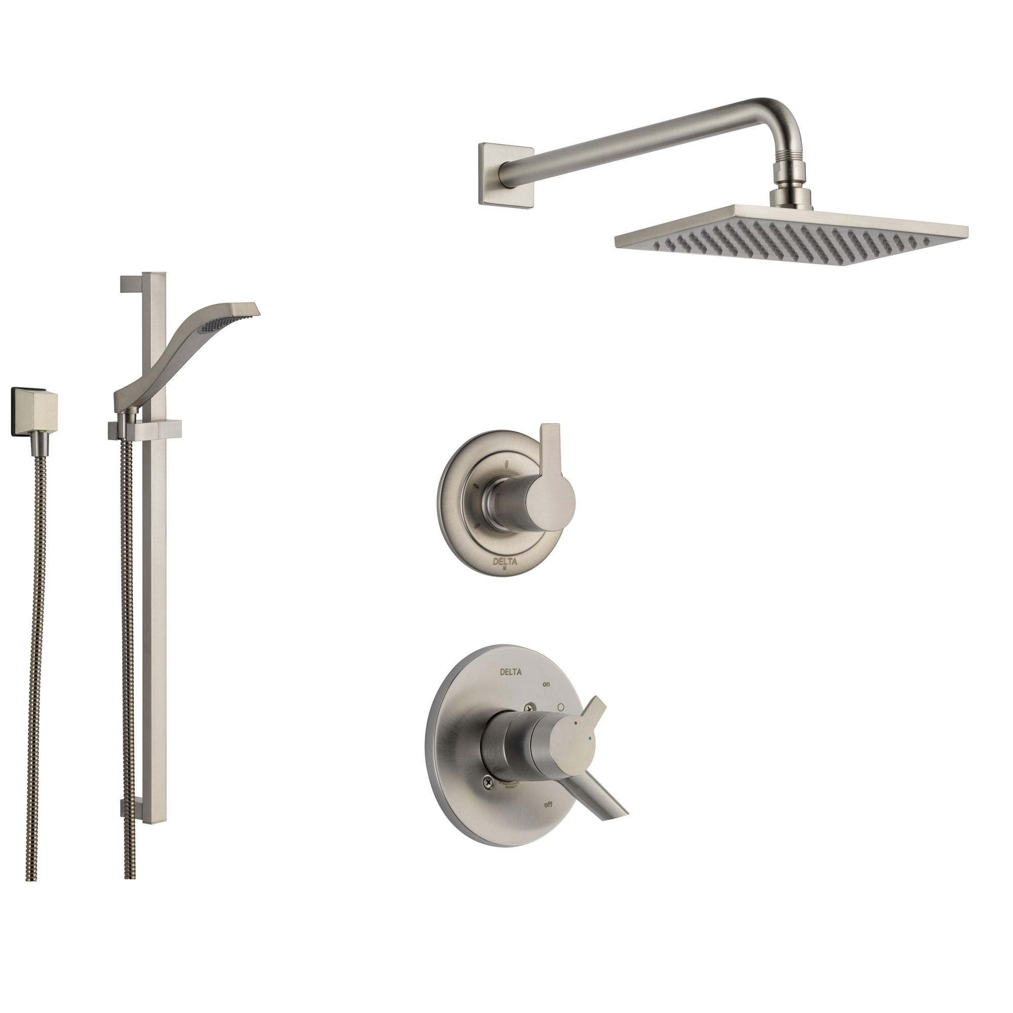 Delta Compel Stainless Steel Shower System with Dual Control Shower Handle, 3-setting Diverter, Modern Square Rain Showerhead, and Handheld Shower SS176182SS