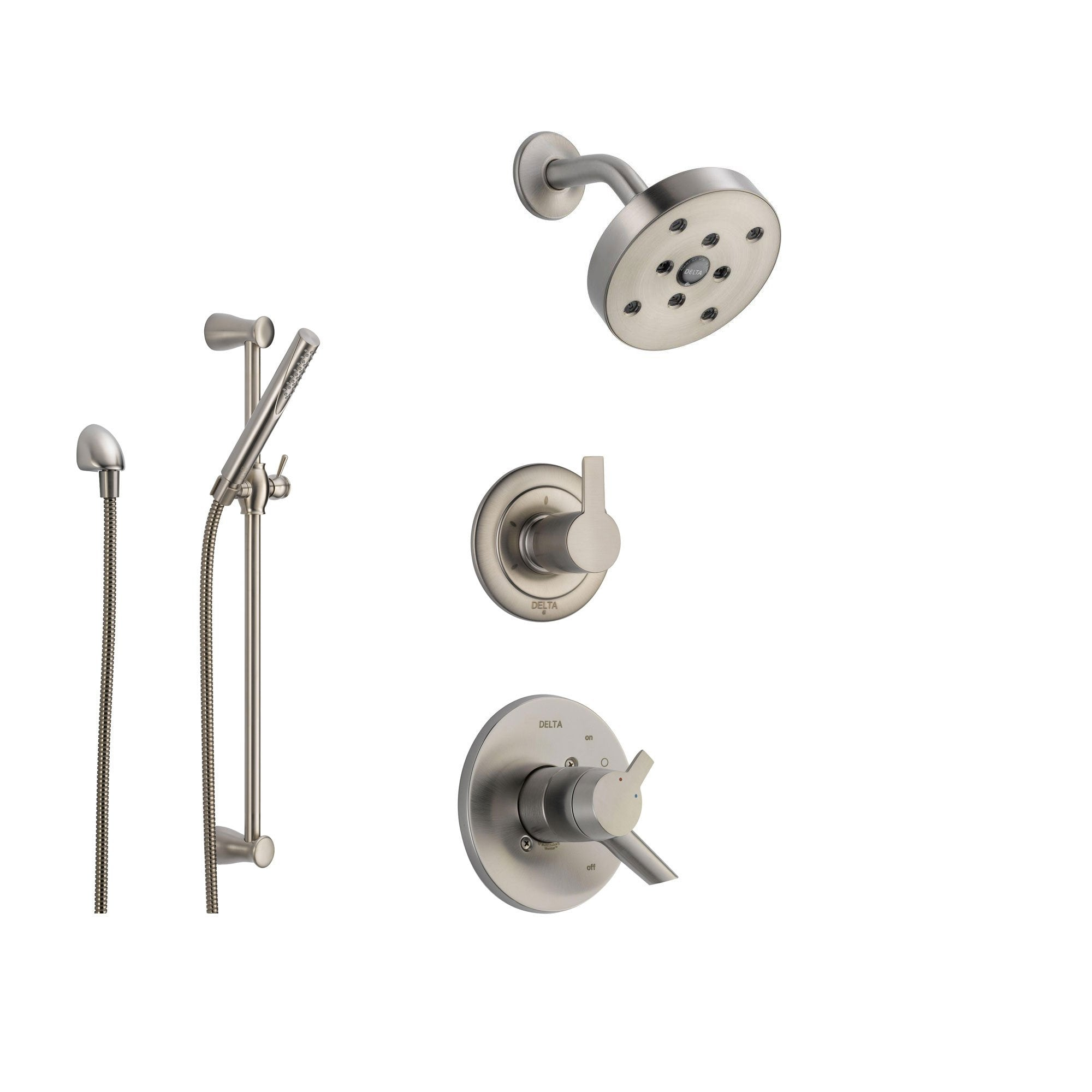 Delta Compel Stainless Steel Shower System with Dual Control Shower Handle, 3-setting Diverter, Modern Showerhead, and Handheld Shower Stick SS176184SS