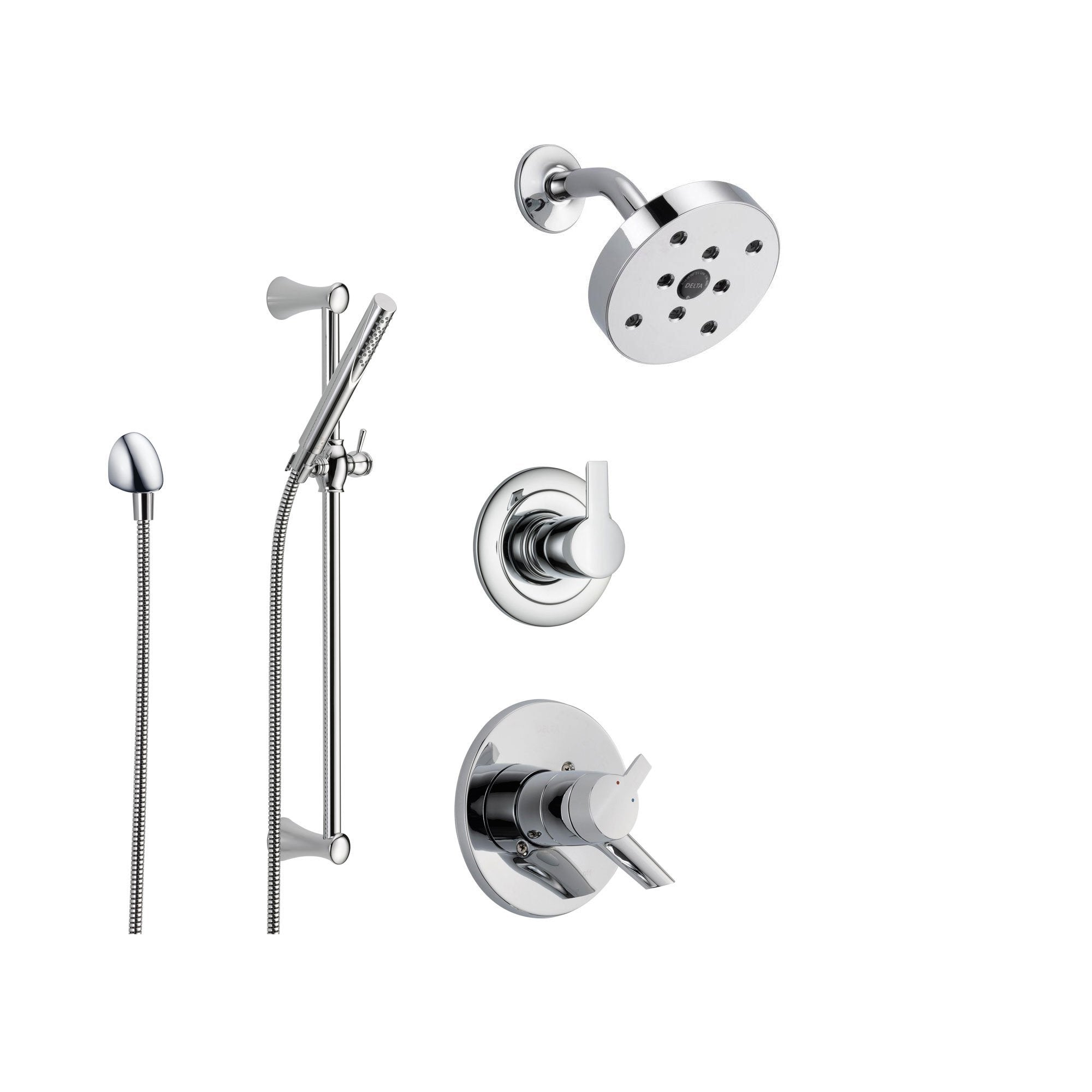 Delta Compel Chrome Shower System with Dual Control Shower Handle, 3-setting Diverter, Modern Round Showerhead, and Handheld Shower Stick SS176184