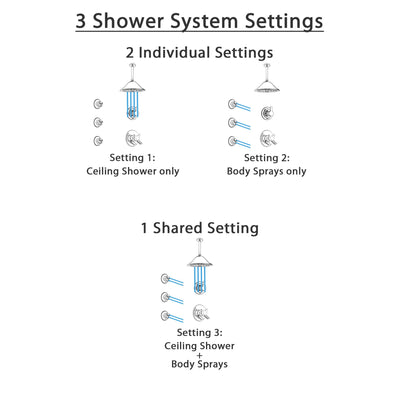 Delta Compel Chrome Finish Shower System with Dual Control Handle, 3-Setting Diverter, Ceiling Mount Showerhead, and 3 Body Sprays SS17618