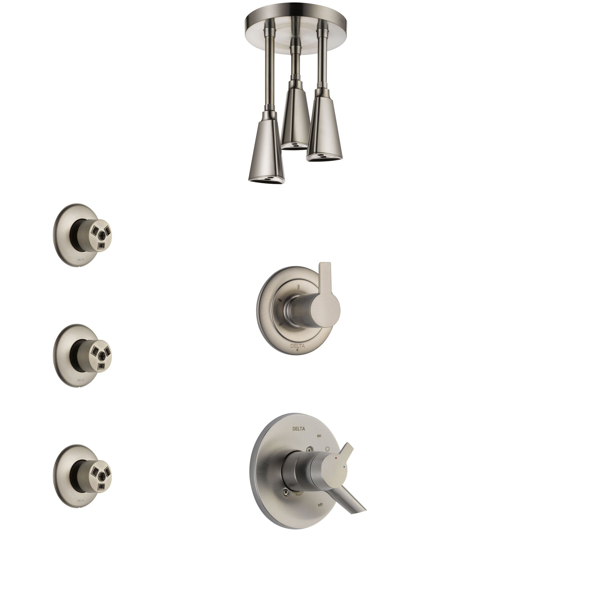 Delta Compel Stainless Steel Finish Shower System with Dual Control Handle, 3-Setting Diverter, Ceiling Mount Showerhead, and 3 Body Sprays SS1761SS5