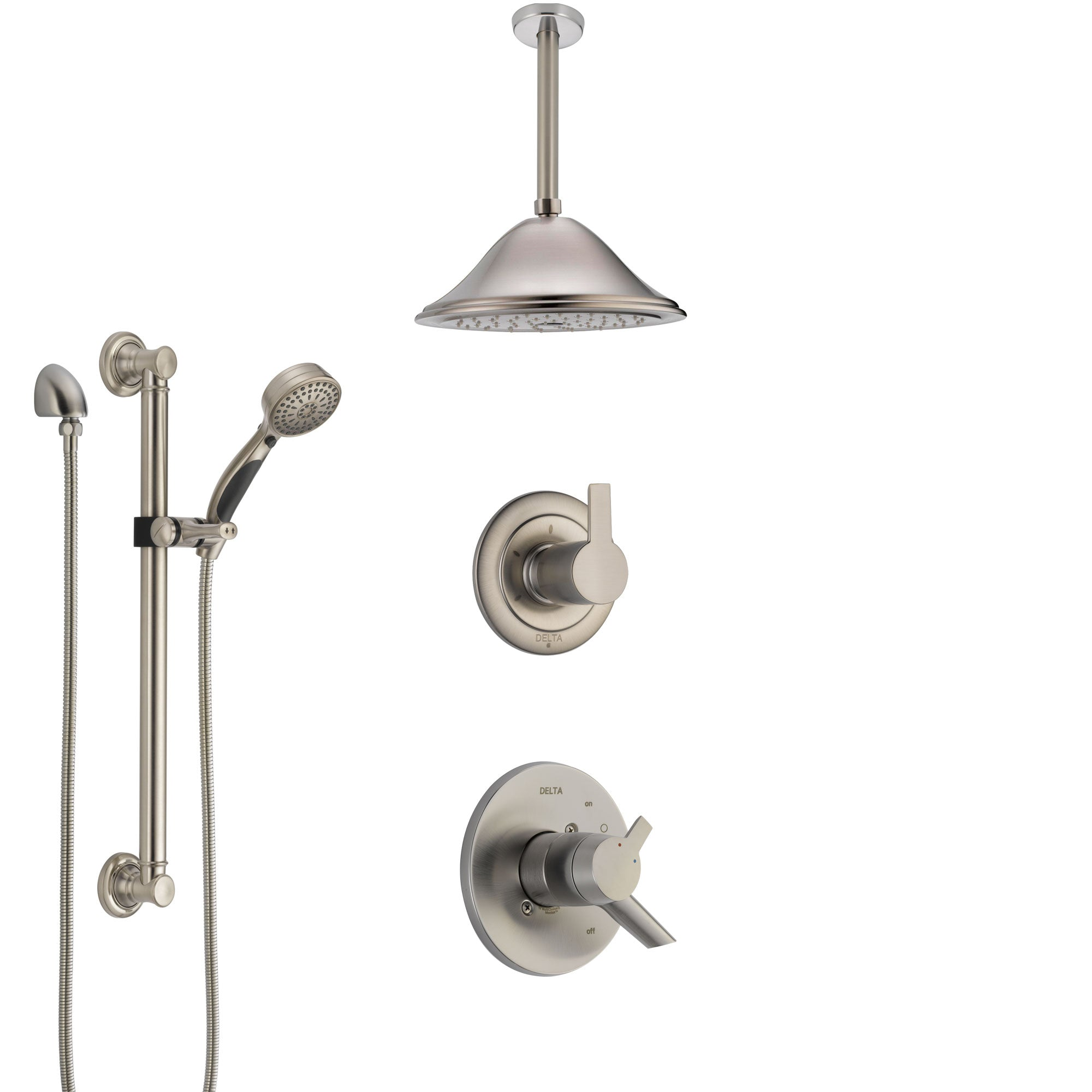 Delta Compel Dual Control Handle Stainless Steel Finish Shower System, Diverter, Ceiling Mount Showerhead, and Hand Shower with Grab Bar SS1761SS7