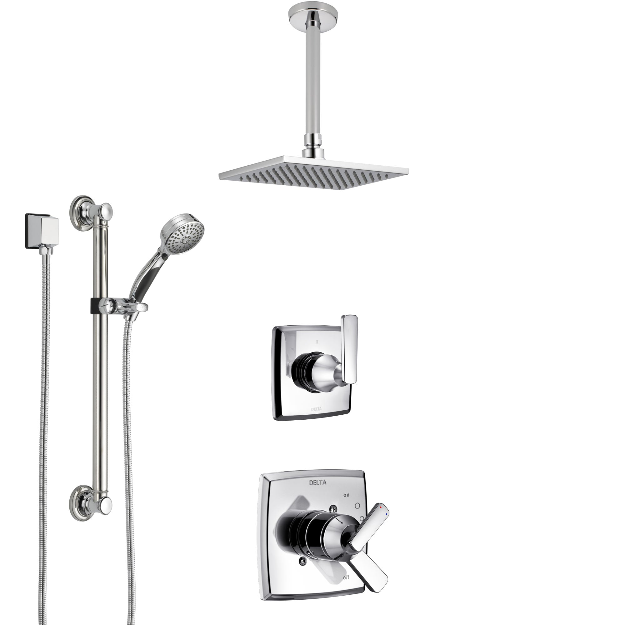 Delta Ashlyn Chrome Finish Shower System with Dual Control Handle, 3-Setting Diverter, Ceiling Mount Showerhead, and Hand Shower with Grab Bar SS17641