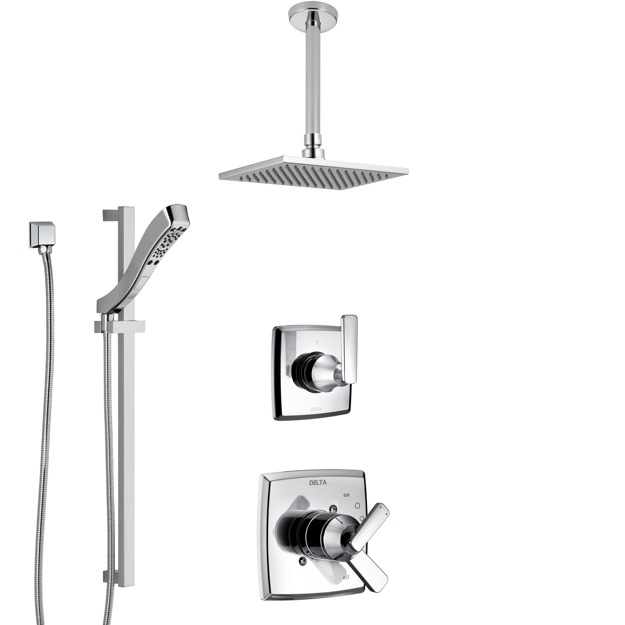 Delta Ashlyn Chrome Finish Shower System with Dual Control Handle, 3-Setting Diverter, Ceiling Mount Showerhead, and Hand Shower with Slidebar SS17642