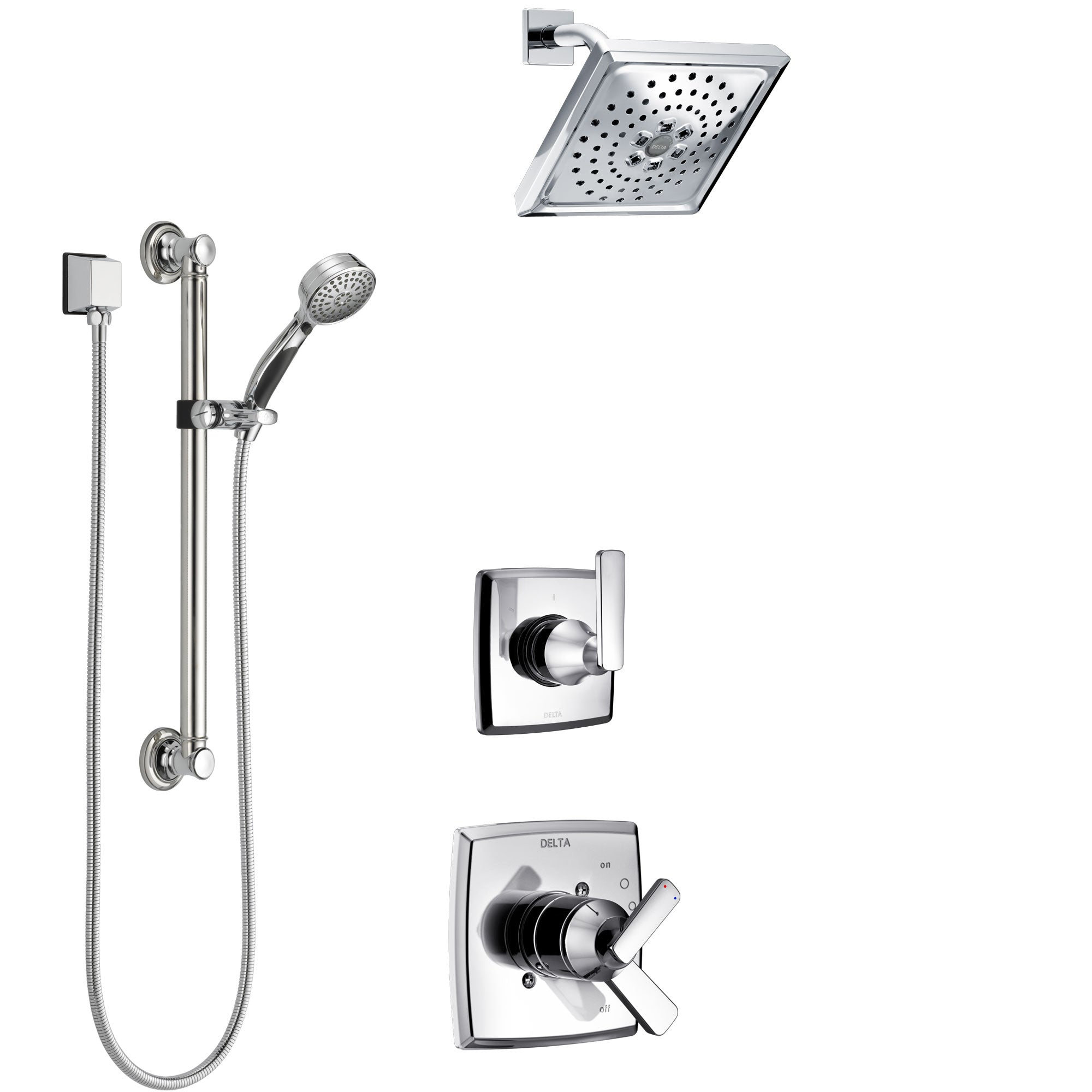 Delta Ashlyn Chrome Finish Shower System with Dual Control Handle, 3-Setting Diverter, Showerhead, and Hand Shower with Grab Bar SS17646