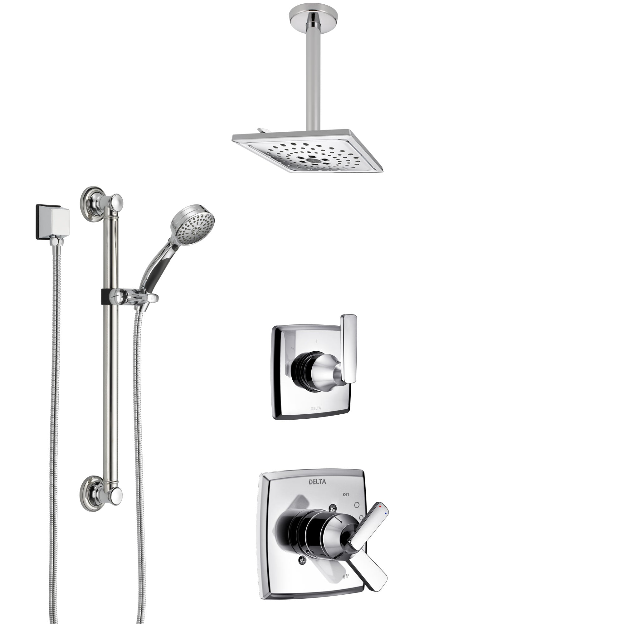 Delta Ashlyn Chrome Finish Shower System with Dual Control Handle, 3-Setting Diverter, Ceiling Mount Showerhead, and Hand Shower with Grab Bar SS17647