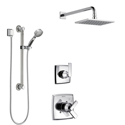 Delta Ashlyn Chrome Finish Shower System with Dual Control Handle, 3-Setting Diverter, Showerhead, and Hand Shower with Grab Bar SS17648