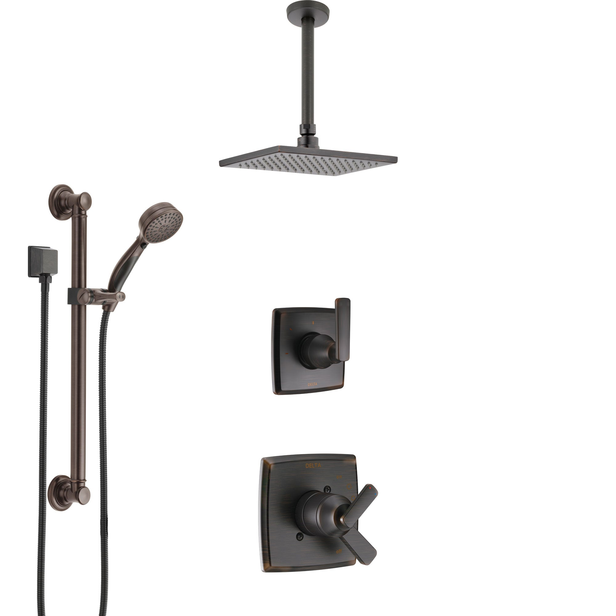 Delta Ashlyn Venetian Bronze Shower System with Dual Control Handle, Diverter, Ceiling Mount Showerhead, and Hand Shower with Grab Bar SS1764RB2