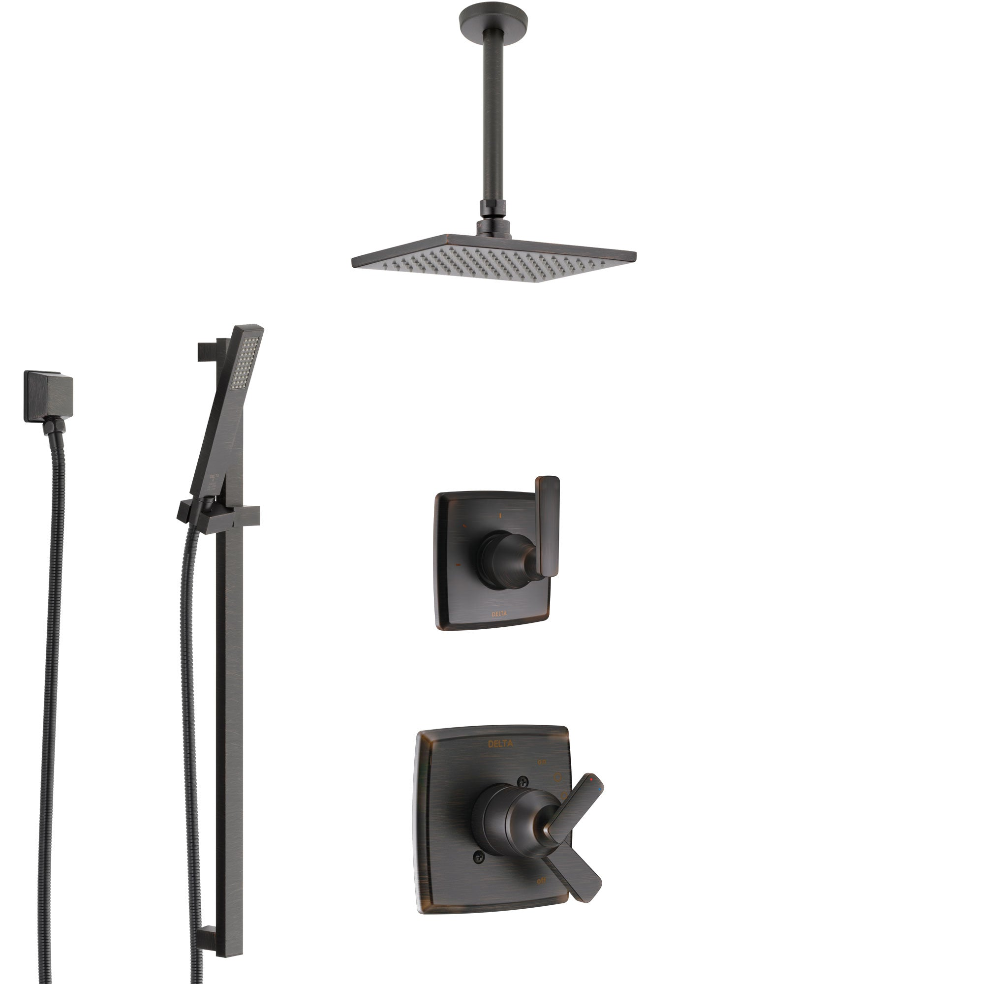 Delta Ashlyn Venetian Bronze Shower System with Dual Control Handle, Diverter, Ceiling Mount Showerhead, and Hand Shower with Slidebar SS1764RB7