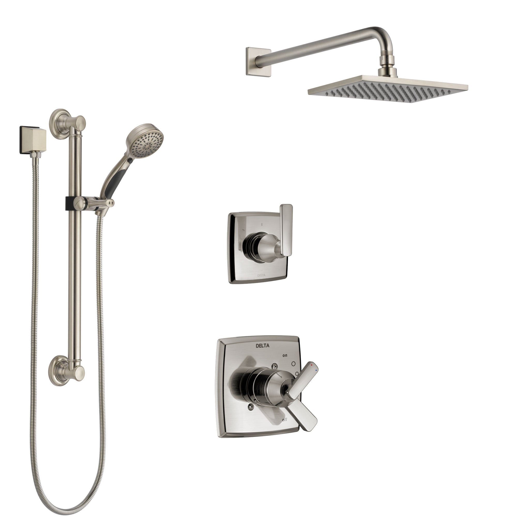 Delta Ashlyn Stainless Steel Finish Shower System with Dual Control Handle, 3-Setting Diverter, Showerhead, and Hand Shower with Grab Bar SS1764SS1