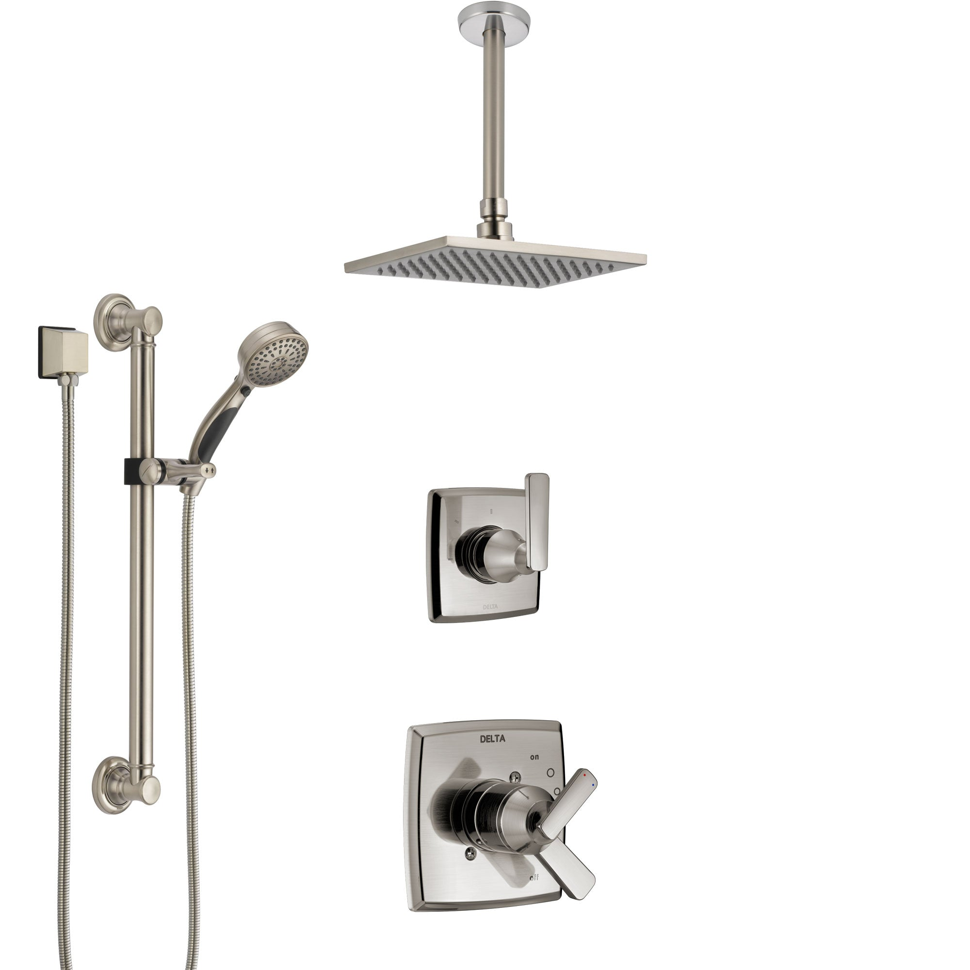 Delta Ashlyn Dual Control Handle Stainless Steel Finish Shower System, Diverter, Ceiling Mount Showerhead, and Hand Shower with Grab Bar SS1764SS2