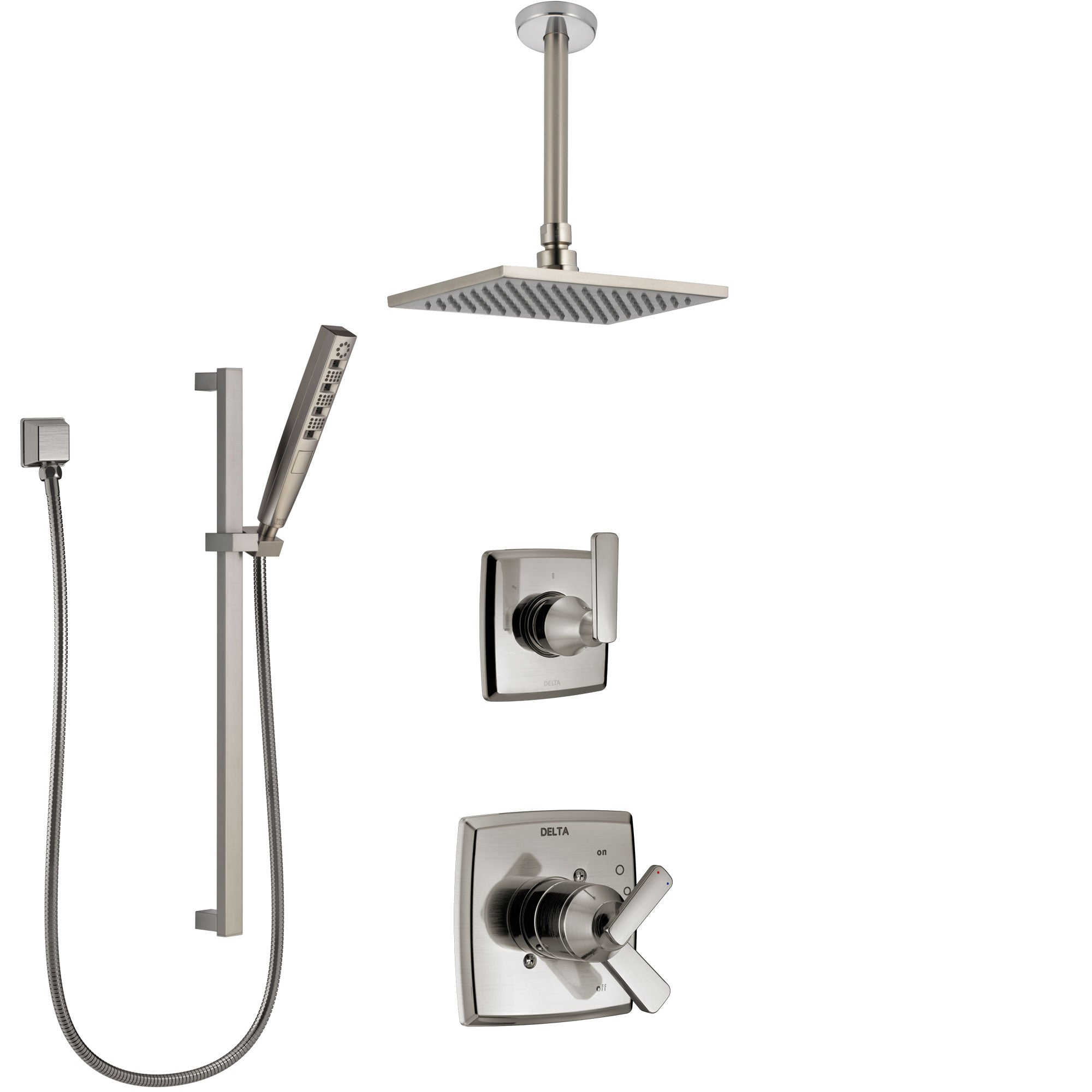 Delta Ashlyn Dual Control Handle Stainless Steel Finish Shower System, Diverter, Ceiling Mount Showerhead, and Hand Shower with Slidebar SS1764SS5