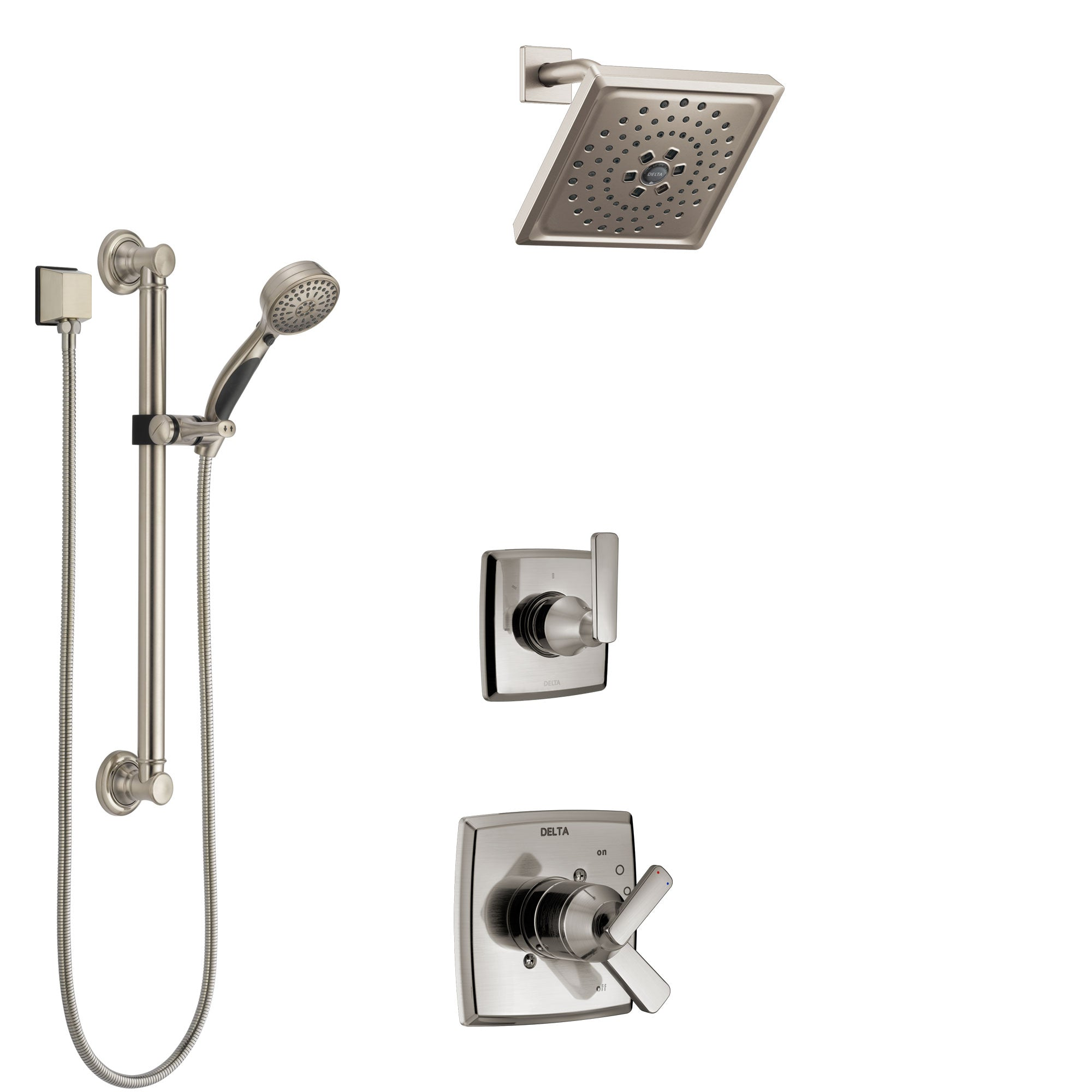 Delta Ashlyn Stainless Steel Finish Shower System with Dual Control Handle, 3-Setting Diverter, Showerhead, and Hand Shower with Grab Bar SS1764SS8