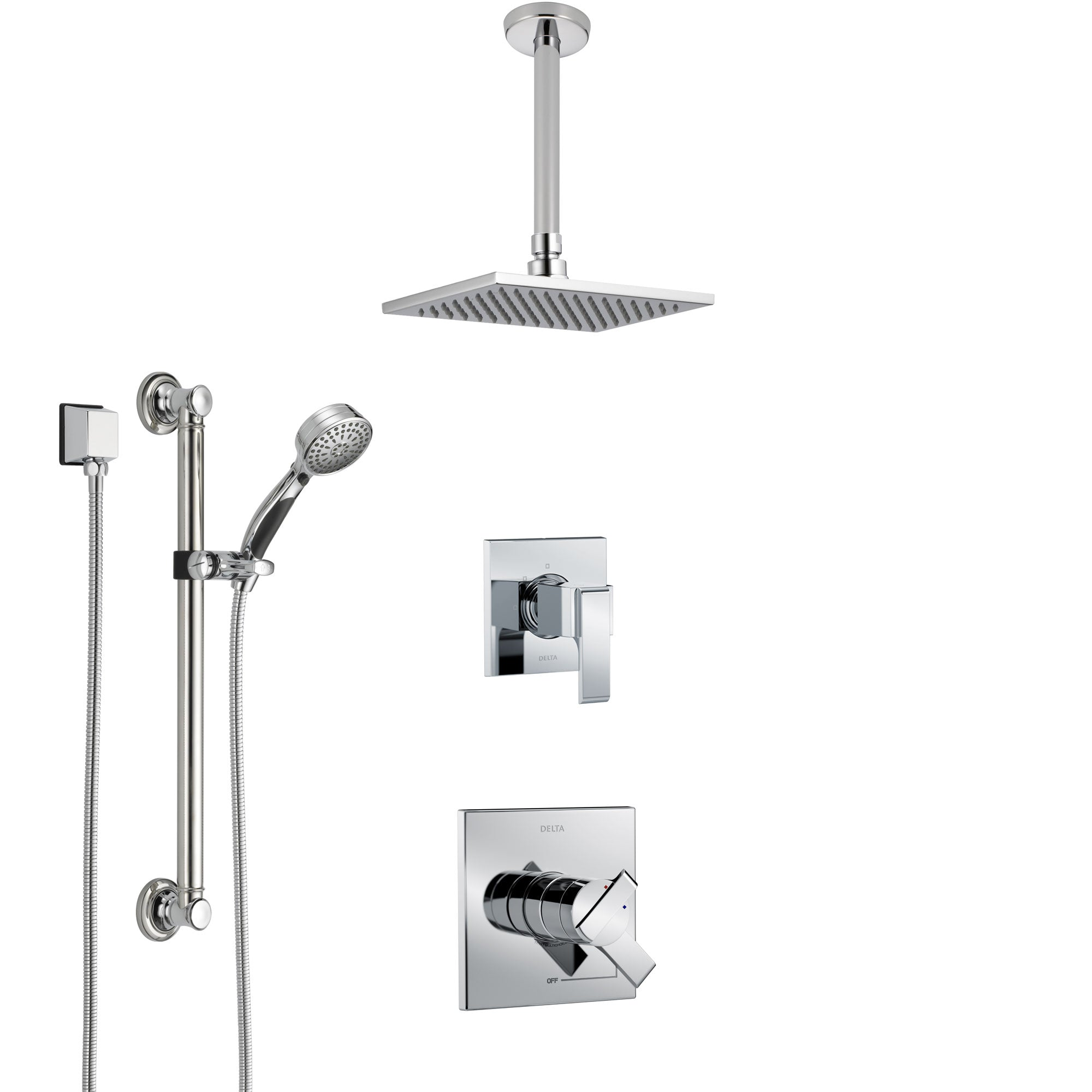Delta Ara Chrome Finish Shower System with Dual Control Handle, 3-Setting Diverter, Ceiling Mount Showerhead, and Hand Shower with Grab Bar SS17671