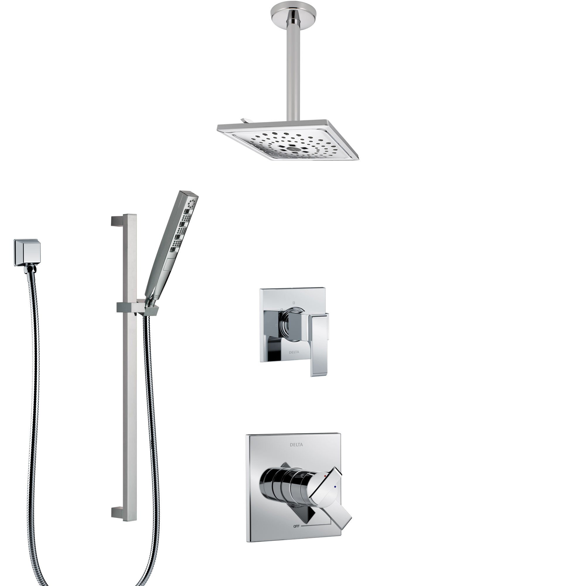 Delta Ara Chrome Finish Shower System with Dual Control Handle, 3-Setting Diverter, Ceiling Mount Showerhead, and Hand Shower with Slidebar SS17675