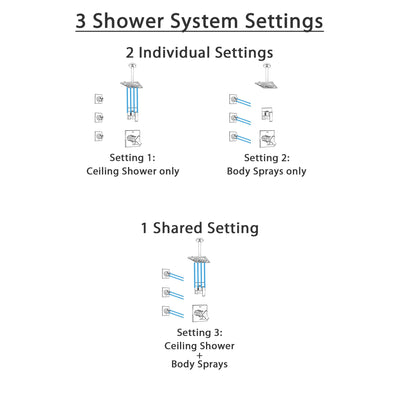 Delta Ara Chrome Finish Shower System with Dual Control Handle, 3-Setting Diverter, Ceiling Mount Showerhead, and 3 Body Sprays SS17676