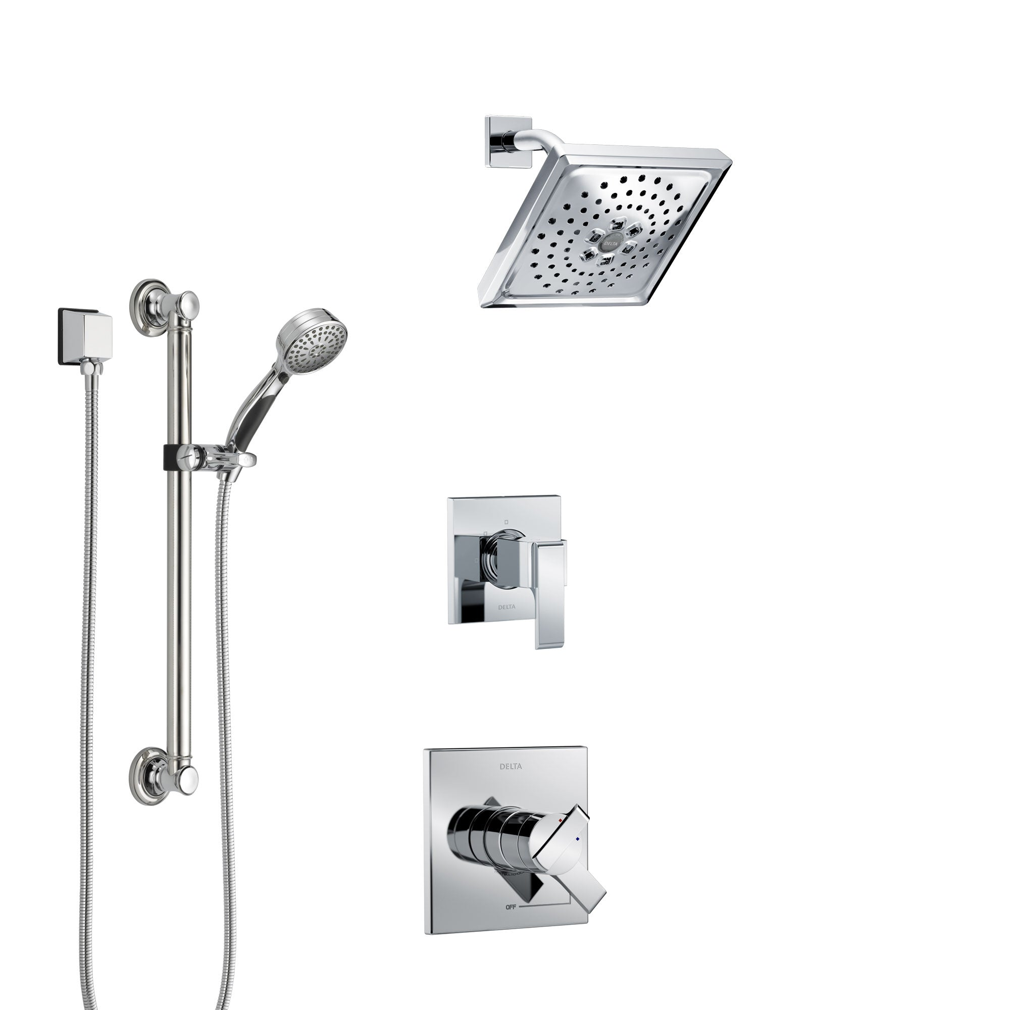 Delta Ara Chrome Finish Shower System with Dual Control Handle, 3-Setting Diverter, Showerhead, and Hand Shower with Grab Bar SS17678
