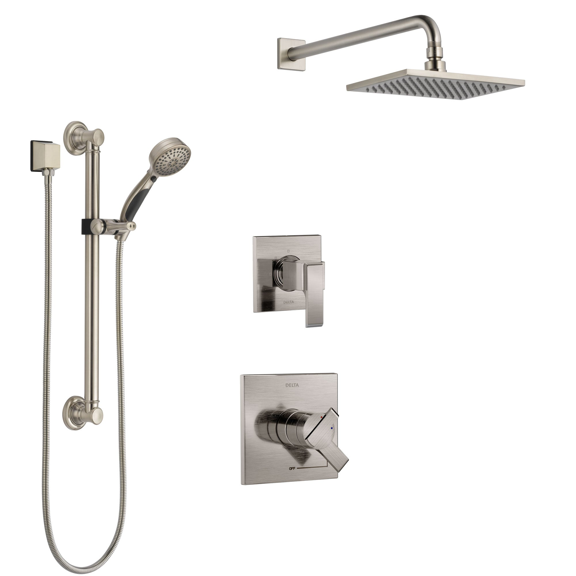 Delta Ara Stainless Steel Finish Shower System with Dual Control Handle, 3-Setting Diverter, Showerhead, and Hand Shower with Grab Bar SS1767SS2