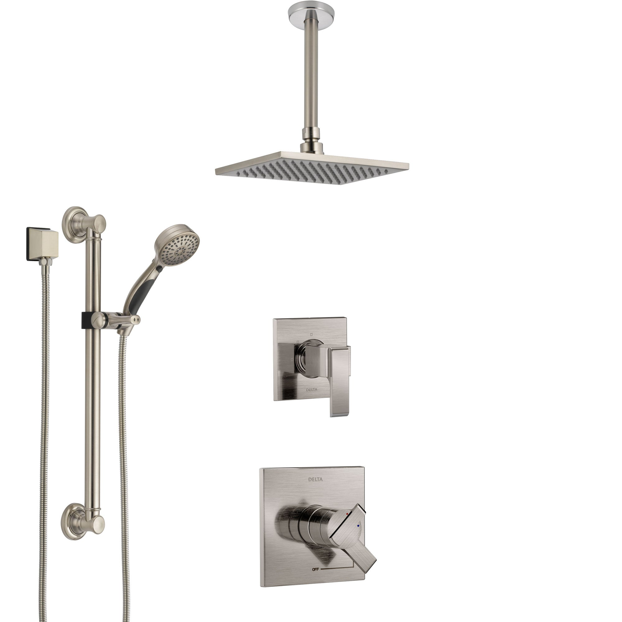 Delta Ara Stainless Steel Finish Shower System with Dual Control Handle, Diverter, Ceiling Mount Showerhead, and Hand Shower with Grab Bar SS1767SS3