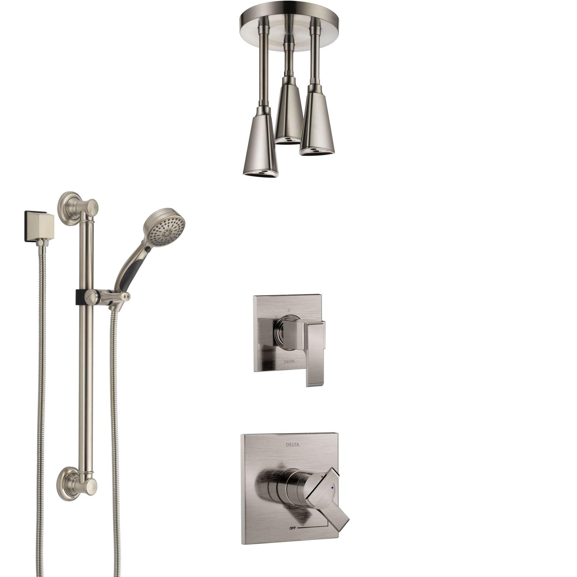Delta Ara Stainless Steel Finish Shower System with Dual Control Handle, Diverter, Ceiling Mount Showerhead, and Hand Shower with Grab Bar SS1767SS4