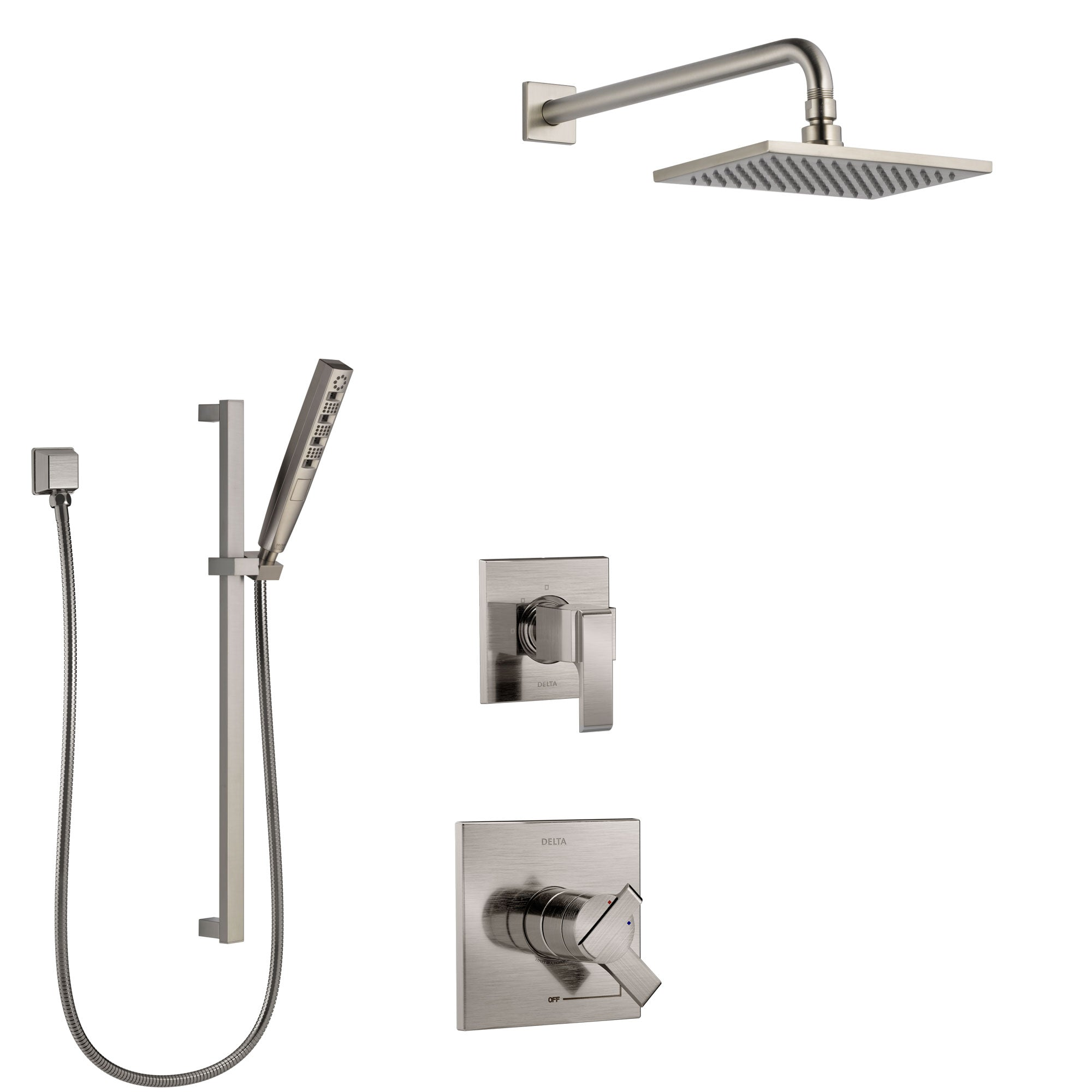 Delta Ara Stainless Steel Finish Shower System with Dual Control Handle, 3-Setting Diverter, Showerhead, and Hand Shower with Slidebar SS1767SS7