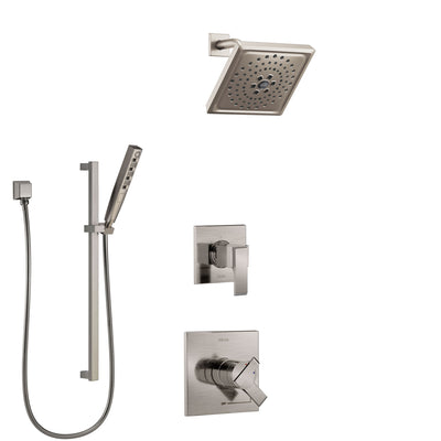 Delta Ara Stainless Steel Finish Shower System with Dual Control Handle, 3-Setting Diverter, Showerhead, and Hand Shower with Slidebar SS1767SS8